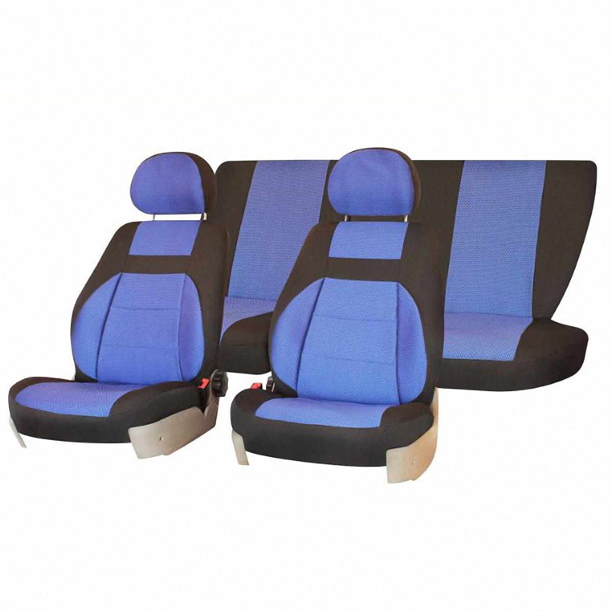 Чехлы автомобильные Skyway, для Lada Priora, седан, цвет: синий, черныйV005-D4Автомобильные чехлы Skyway изготовлены из качественного жаккарда. Чехлы идеально повторяют штатную форму сидений и выглядят как оригинальная обивка сидений. Разработаны индивидуально для каждой модели автомобиля. Авточехлы Skyway просты в уходе - загрязнения легко удаляются влажной тканью. Чехлы имеют раздельную схему надевания. В комплекте 12 предметов.