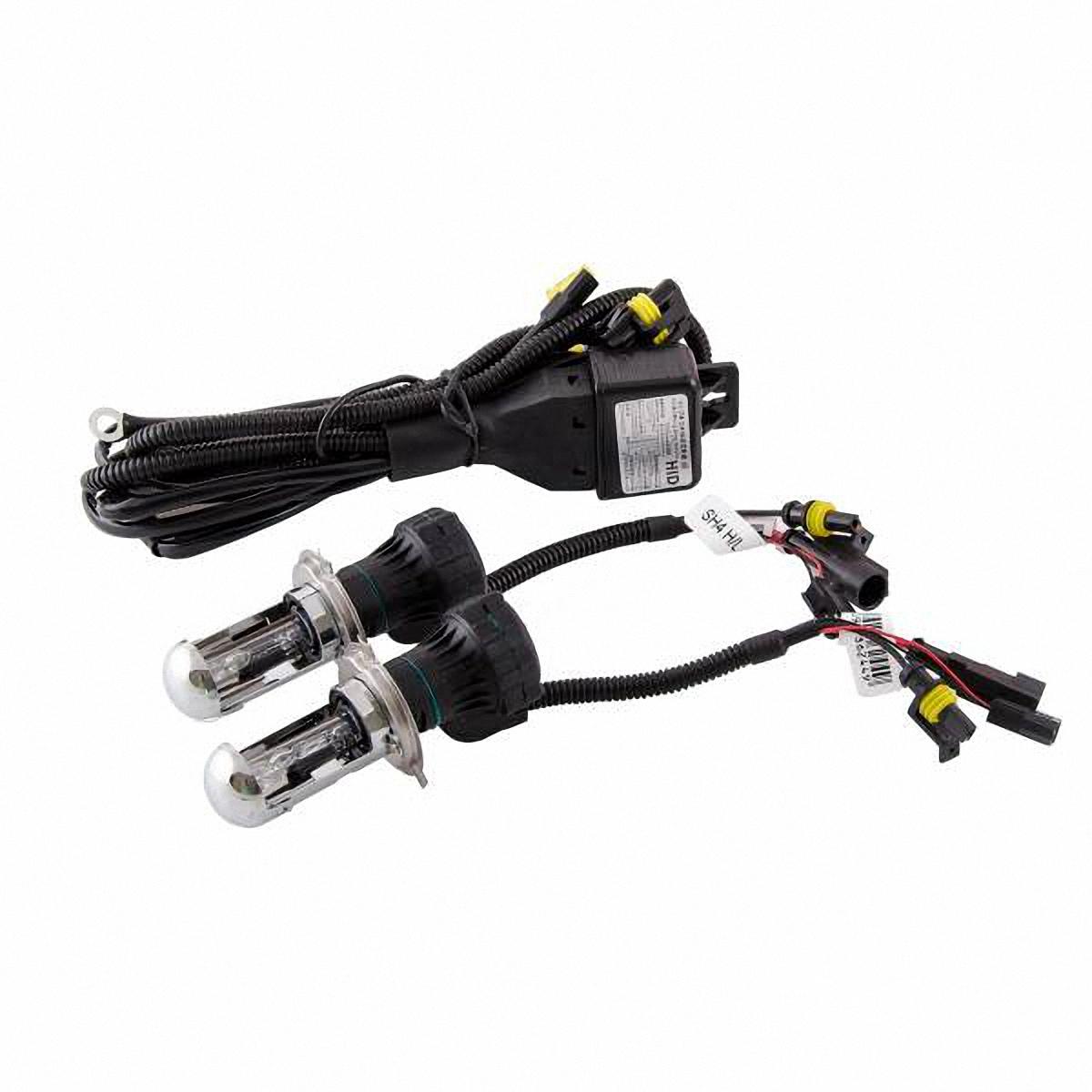 Лампа автомобильная Skyway, биксенон, цоколь H4, 35 Вт, 12 В, 2 штSH4 H/L 4300KДанная биксеноновая лампа под цоколь H4 применяется в автомобилях со световой системой, в которой в одной лампе совмещены ближний и дальний свет (в одной лампе 2 спирали). Автолампа биксенон SKYWAY устойчива к тряскам, имеет продолжительный срок эксплуатации. За счет лучшего освещения дорожной разметки и дорожных знаков, вы будете чувствовать себя уверенно в плохих погодных условиях и в темное время суток. А мягкий бело-желтый свет лампы не ослепляет водителей встречного потока автомобилей. Особенности: Защита от короткого замыкания, перенапряжения, низкого напряжения Комплект предназначен для установки в посадочные места галогеновых автомобильных ламп Упрощенная инсталляция на любой автомобиль без замены штатной проводки Колба лампы изготовлена из кварцевого стекла Водонепроницаемый корпус Короткое время розжига Характеристики: Цветовая температура: 4300К Цоколь: Н4 Мощность: 35 Вт ...