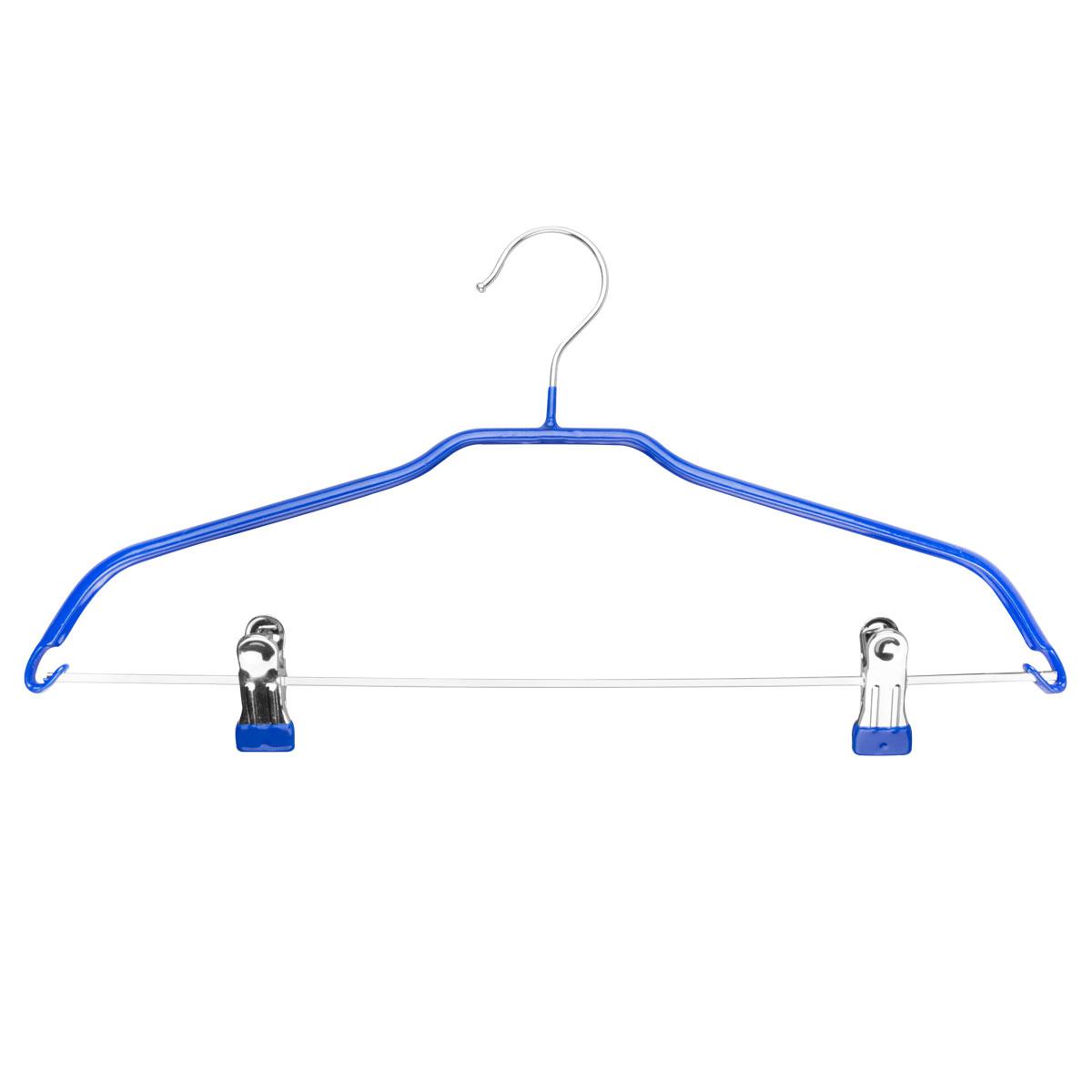 Вешалка Miolla, с клипсами для брюк, цвет: синий, длина 44 см2511016BВешалка Miolla изготовлена из высококачественного металла. Зажимы и плечики имеют резиновое покрытие, чтобы не повредить ткань. Вешалка с клипсами для брюк Miolla станет практичным и полезным аксессуаром в вашем гардеробе.
