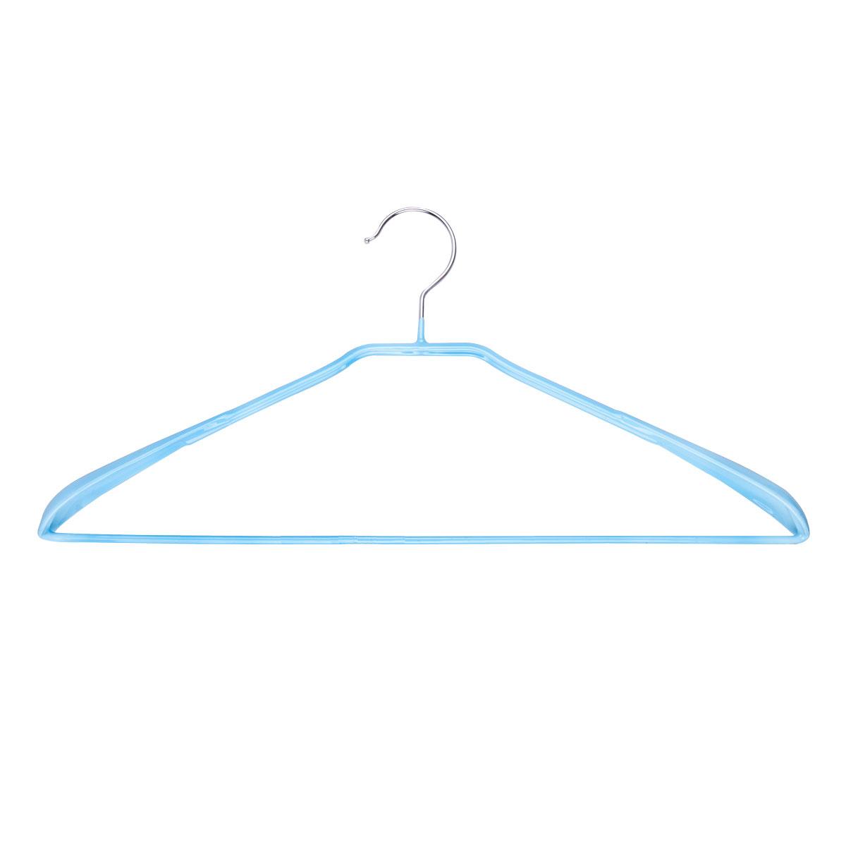 Вешалка для одежды Miolla, с расширенными плечиками, цвет: голубой, 42 х 19 х 3,5 см2511017TB2Универсальная вешалка для одежды Miolla выполнена из прочной стали. Специальное резиновое покрытие предотвращает соскальзывание одежды. Изделие оснащено перекладиной для брюк и расширенными плечиками. Вешалка - это незаменимая вещь для того, чтобы ваша одежда всегда оставалась в хорошем состоянии.