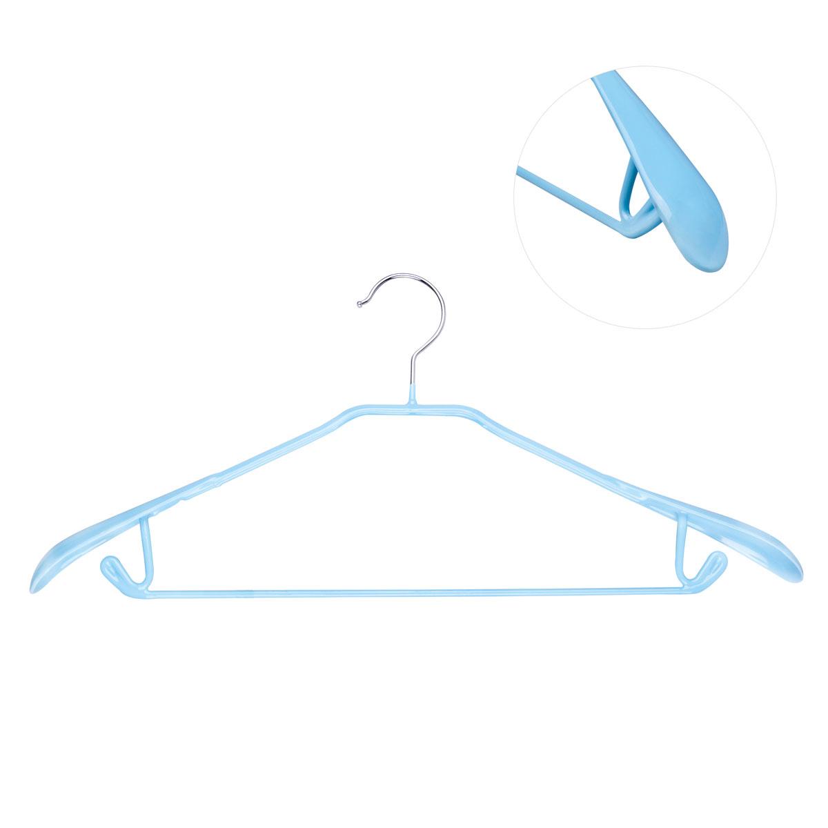 Вешалка для брюк Miolla, цвет: голубой, длина 43 см2511046 TB2Вешалка для брюк Miolla выполнена из металла со специальным резиновым покрытием. Такое покрытие исключает случайное повреждение одежды и ее соскальзывание. Изделие оснащено перекладиной, расширенными плечиками и крючками для юбок и брюк. Вешалка Miolla станет практичным и полезным аксессуаром в вашем гардеробе. Длина: 43 см.