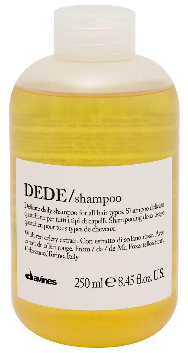 Davines Шампунь для деликатного очищения волос Essential Haircare New Dede Shampoo, 250 мл3078Особая серия для бережного очищения волос любого типа. Активный экстракт красного сельдерея восстанавливает и питает локоны. Богатая важными антиоксидантами формула восстанавливает локоны. Минеральные соли, амино кислоты в высокой концентрации обеспечивают благоприятное воздействие на кудри, полностью очищают волосы, дарят им свежесть и чистоту.