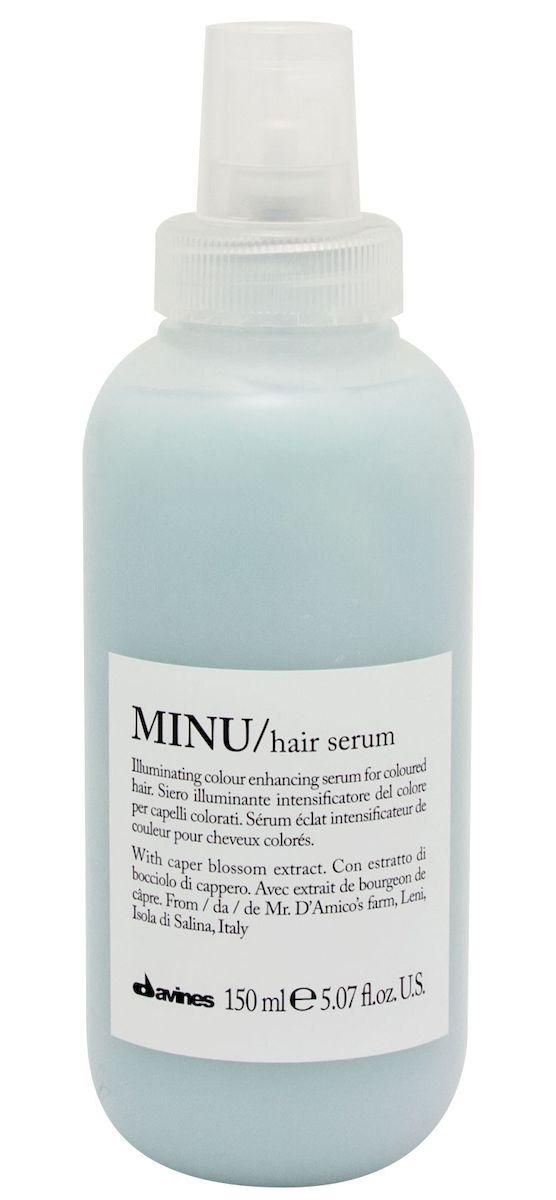 Davines Несмываемая сыворотка для окрашенных волос Essential Haircare New Minu Hair Serum, 150 мл4605845001449Особая серия ухаживающих средств для окрашенных волос. Основным активным элементом в составе является каперсник. Высокое содержание аминокислоты кверцетина в формуле, что обеспечивает защиту структуры волос. Полифенолы - это природные пигменты, которые к тому же продлевают жизнь локонам и не дают им окисляться.
