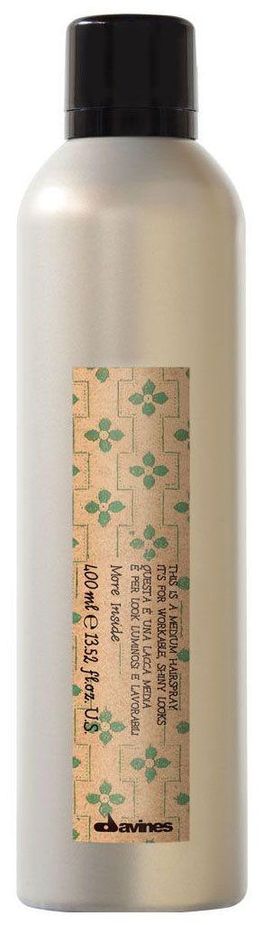 Davines Лак средней фиксации More Inside Medium Hairspray, 400 мл увлажняющий мусс davines more inside авторские продукты для стайлинга 250 мл