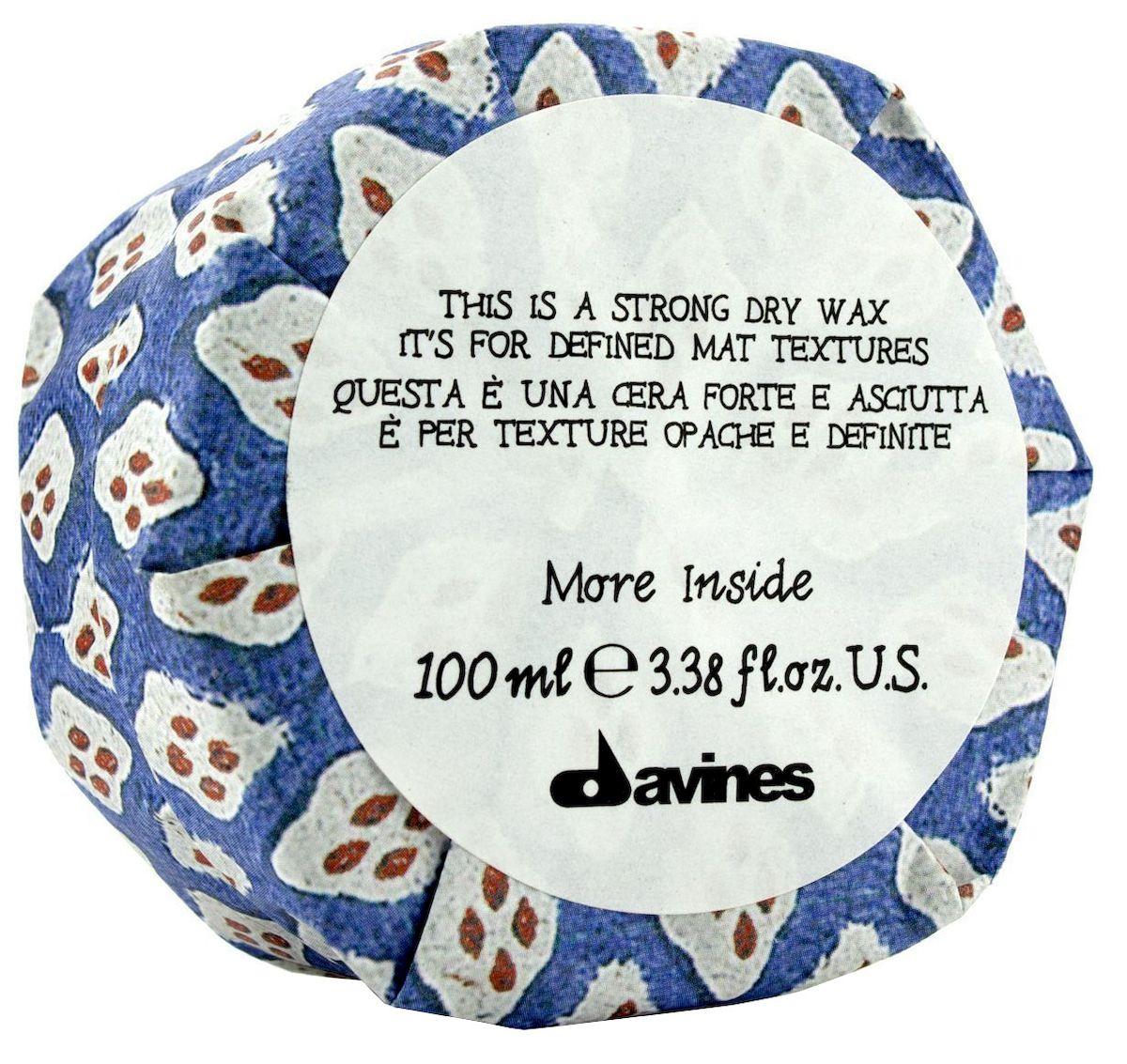 Davines Сухой воск для текстурных матовых акцентов More Inside Strong Dry Wax, 100 мл увлажняющий мусс davines more inside авторские продукты для стайлинга 250 мл