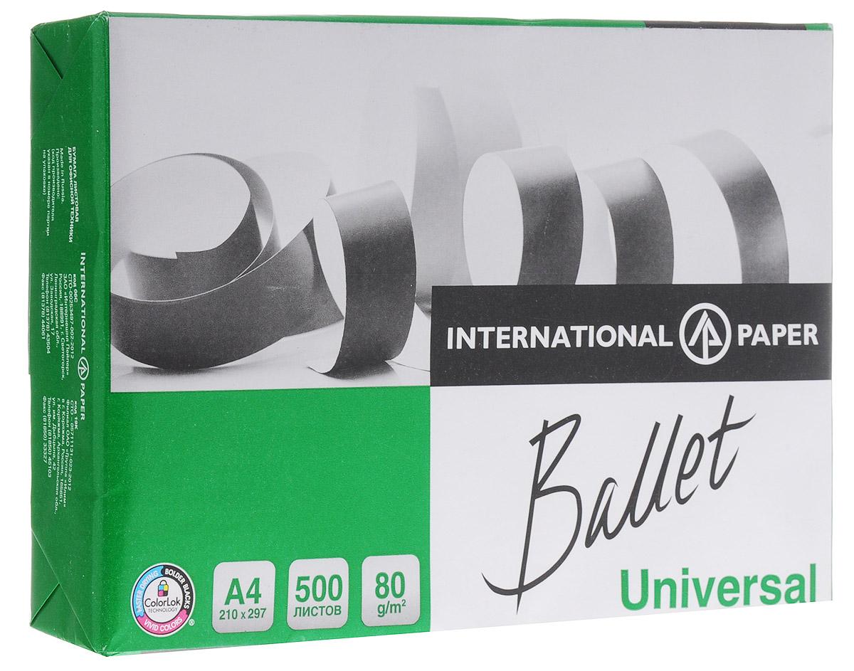 Ballet Бумага офисная Universal 500 листов А4CS-GA620050Многофункциональная офисная бумага Ballet Universal идеально подходит для печати графиков, иллюстраций, коммерческих предложений, важных отчетов и других типов документов. Высокая гладкость и непрозрачность бумаги гарантируют высокое качество печати на струйных и лазерных принтерах, а высокая степень белизны обеспечивает оптимальное воспроизведение изображений. Подходит для двухсторонней печати и может использоваться на разных типах офисного оборудования. Бумага Ballet Universal производится из древесины восстанавливаемых лесов с использованием отбелки без элементарного хлора. Бумага предает вашим распечаткам следующие свойства:Насыщенность черного цвета увеличивается на 16%, что делает изображение сверхчетким;Яркость цветов увеличивается на 25%, что делает изображение более интенсивным и естественным;Чернила высыхают в 2,5 раза быстрее, предотвращая размазывание.