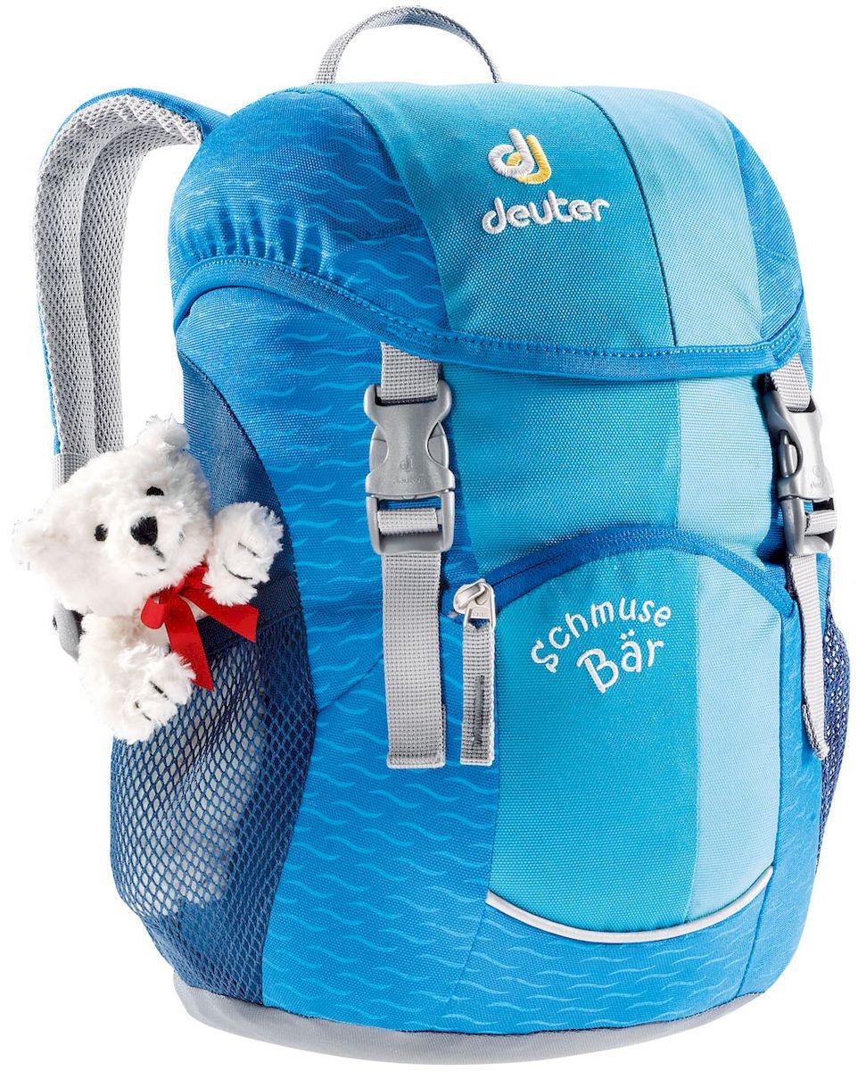 Рюкзак детский Deuter Schmusebar, цвет: голубой, 8 л199325Детские рюкзаки Deuter - это настоящие хиты для детского сада, школы или походных приключений. Новые оригинальные вышивки, цветные набивные рисунки - есть от чего загореться глазам любого ребенка! Рюкзак Deuter Schmusebar рассчитан на детей от 3 лет, плюшевый мишка прилагается.Особенности: Удобная мягкая спинка; Новые S-образные плечевые лямки с мягкими краями; Нагрудный ремень; Два боковых сетчатых кармана; Именная бирка внутри; Отражатель 3М спереди и большой отражатель на переднем кармане для повышения безопасности; Удобные для детей застежки; Материал: Super-Polytex. Вес: 310 г. Объем: 8 л. Размеры: 34х20х16 см.