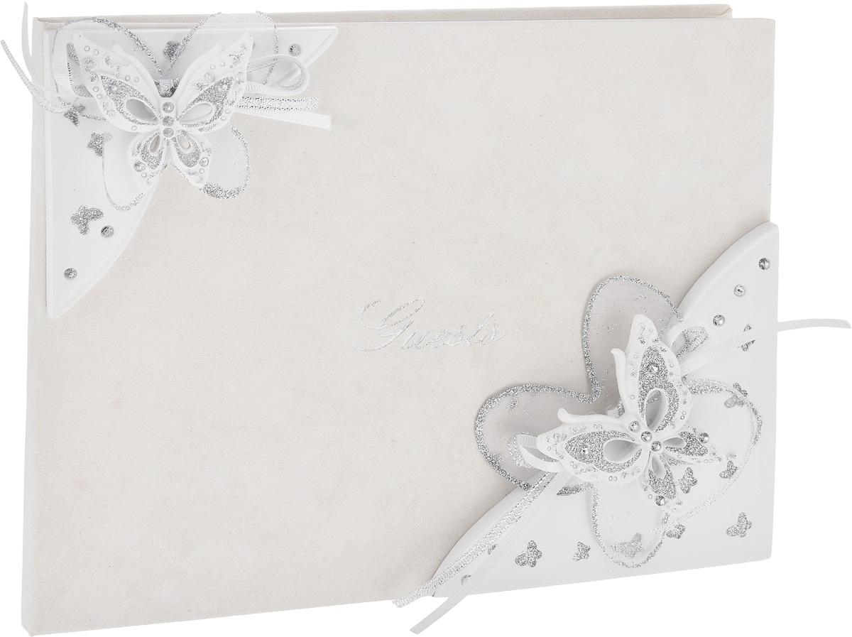 Книга пожеланий на свадьбу Win Max, 20 х 25 см127740Книга пожеланий на свадьбу Win Max прекрасно подойдет для записи пожеланий и напутствий новобрачным. Книга выполнена в нежном белом цвете, украшена красивыми объемными бабочками, покрытыми блестками. Надпись на обложке Quests выполнена красивым рукописным шрифтом. Листы книги разлинованы, чтобы гостям было удобно писать на них самые теплые слова! Такая книга пожеланий ручной работы выглядит очень нежно и красиво! Размер книги: 20 х 25 см.