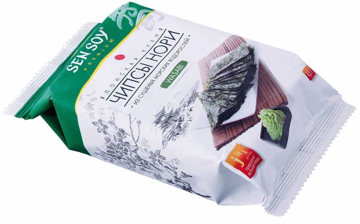Sen Soy Чипсы-Нори из морской водоросли Wasabi, 4,5 г4607041135157Чипсы Нори - популярная корейская легкая закуска из морской водоросли. Продукт для тех, кто трепетно относится к своему здоровью и заботится о стройной фигуре. Хрустящие пластинки нори, обжаренные на кунжутном масле, прекрасно утоляют голод и сохраняют все исключительные свойства морских водорослей. Вкусные и полезные они содержат растительный протеин, йод, железо, кальций, фосфор а также витамины А, В и С. На прогулке, перед телевизором, в кино и в дороге с Вами Чипсы Нори Sen Soy Premium – хрустите с удовольствием и пользой!