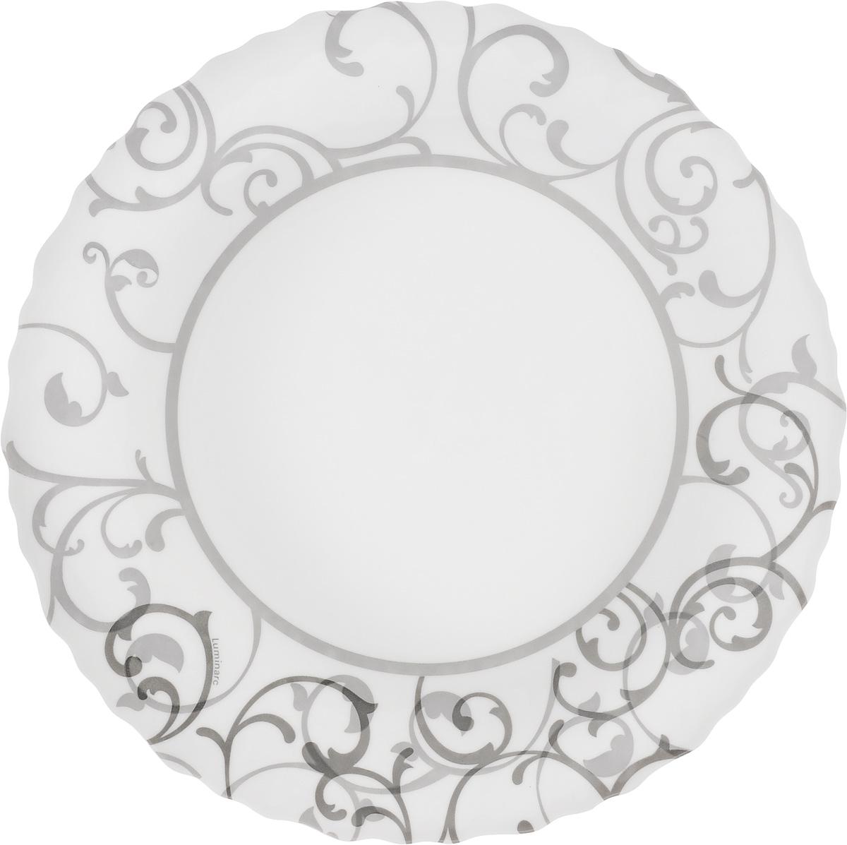 Тарелка десертная Luminarc Aliya, диаметр 19 смJ3245_белый, серый рисунокТарелка десертная Luminarc Aliya изготовлена из ударопрочного стекла и декорирована красивым узором. Такая тарелка прекрасно подходит как для торжественных случаев, так и для повседневного использования. Идеальна для подачи десертов, пирожных, тортов и многого другого. Она прекрасно оформит стол и станет отличным дополнением к вашей коллекции кухонной посуды. Изделие можно мыть в посудомоечной машине, ставить в микроволновую печь и холодильник. Диаметр тарелки: 19 см.