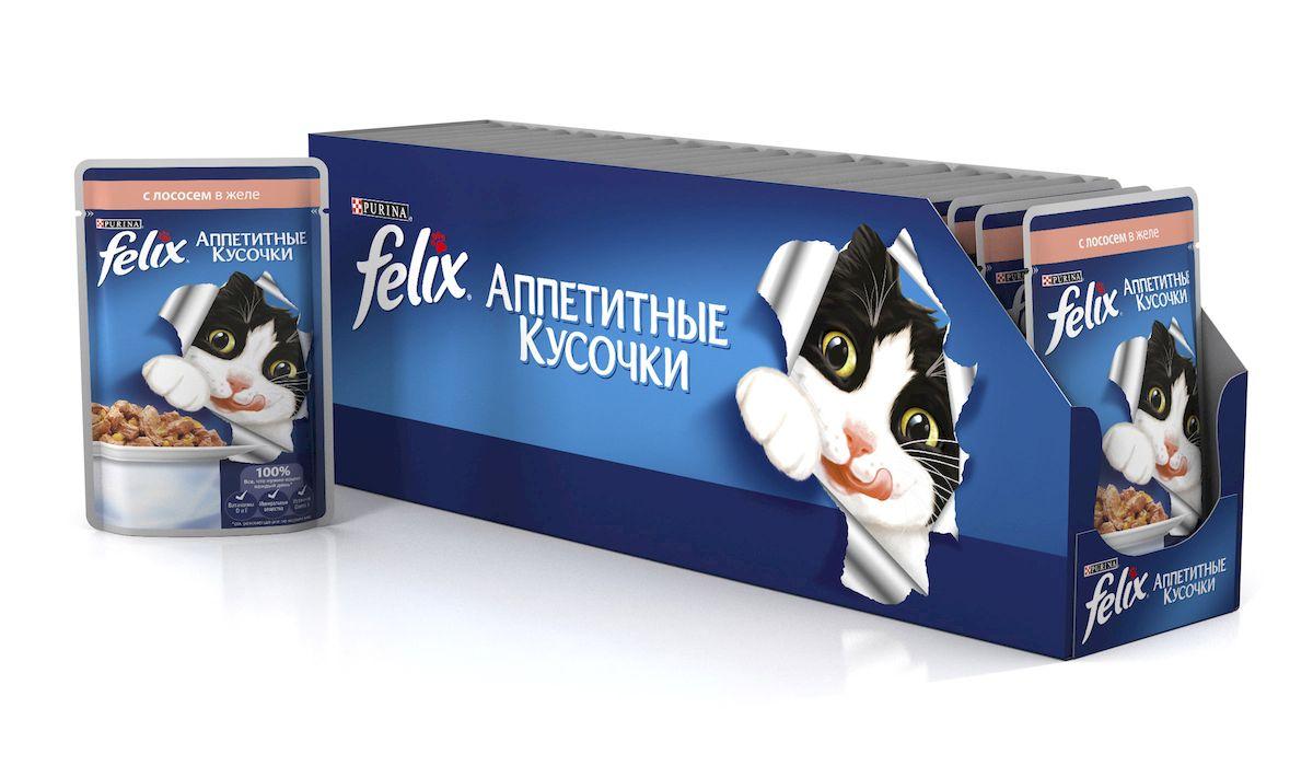 Консервы для кошек Felix, аппетитные кусочки с лососем в желе, 85 г, 24 шт33113_24Felix Аппетитные кусочки - это совершенно особенный корм для кошек. У него такой аппетитный вид и аромат, словно его приготовили вы сами. Felix Аппетитные кусочки создан по специально разработанной рецептуре: это нежнейшие кусочки с мясом или рыбой, покрытые сочным желе. Ваш кот будет готов есть такую вкуснятину хоть каждый день - на завтрак, обед и ужин. Рекомендации по кормлению: Для взрослой кошки среднего веса (4кг) требуется примерно 3 пакетика в день. Кормление желательно разделить на два приема. Для беременных или кормящих кошек кормление без ограничений. Подавать корм при комнатной температуре. Следите, чтобы у вашей кошки всегда была чистая, свежая питьевая вода. Состав: мясо и субпродукты, экстракт растительного белка, рыба и рыбные субпродукты (лосось мин.4%), минеральные вещества, сахар. Пищевая ценность в 100г: белки 13%, жир 3%, сырая зола 2,2%, сырая клетчатка 0,5%. Добавленные вещества МЕ/кг: витамин А 1490, витамин D3 230,...