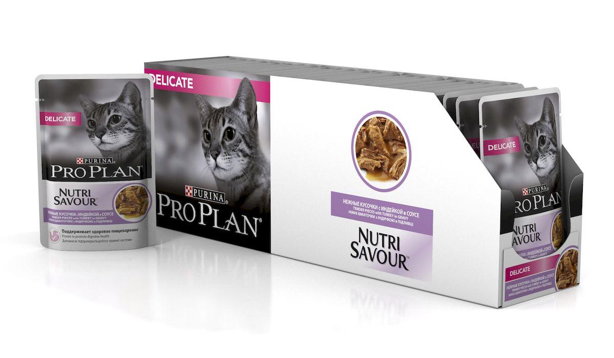 Консервы Pro Plan Nutri Savour для кошек с чувствительным пищеварением, с индейкой, 85 г, 24 шт57490_24