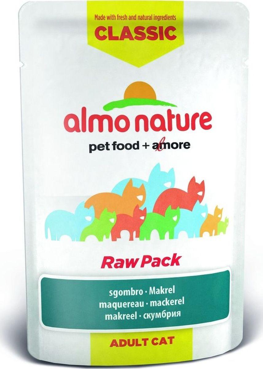 Консервы для кошек Almo Nature Classic, cо скумбрией, 55 г20468Консервы Almo Nature Classic - сбалансированный влажный корм для кошек, изготовленный из ингредиентов высшего качества, являющихся натуральными источниками витаминов и питательных веществ. Состав: скумбрия 75%, бульон из скумбрии 24%, рис 1%. Пищевая ценность: белок 13%, клетчатка 0,1%, масла и жир 1%, зола 2 %, влажность 80%. Калорийность: 540 ккал/кг. Товар сертифицирован.