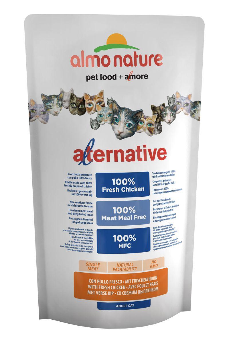 Корм сухой для кошек Almo NatureAlternative, с цыпленком и рисом, 750 г0120710Полнорационный корм для кошек Almo Nature Alternative изготовлен исключительно из свежего мяса. Монобелковый корм не содержит мясной муки и дегидрированного мяса. Рекомендован к употреблению кошек с чувствительным пищеварением. Не содержит ГМО, химических консервантов, красителей и усилителей вкуса.Состав: свежий цыпленок - 55%, рис, гидролизованный животный белок, кукурузный глютен, куриный жир, яйца, дрожжи, минералы, лососевый жир, клетчатка, мананоолигосахариды - 0,2%, инулин из цикория - источник ФОС - 0,2%.Питательные добавки: витамин A - 24000 IU/kg, витамин D3 - 1700 IU/kg, витамин E - 400 мг/кг, витамин B1 - 10 мг/кг, витамин B2 - 8 мг/кг, кальций - 16 мг/кг, витамин B6 - 6 мг/кг, витамин B12 - 0,15 мг/кг, витамин C - 50 мг/кг, холина хлорид - 3066 мг/кг, ниацин - 50 мг/кг, биотин - 0,5 мг/кг, таурин - 1000 мг/кг, витамин K - 1 мг/кг, фолиевая кислота - 1 мг/кг, сульфат меди пентагидрат - 32 мг/кг, меди хелат аминокислоты гидрат - 40 мг/кг, оксид цинка моногидрат - 166,7 мг/кг, цинка хелат аминокислоты гидрат - 266,7 мг/кг, сульфат марганца моногидрат - 78,1 мг/кг, органический селен - 65,2 мг/кг.Пищевая ценность: кальций - 1,2%, фосфор - 0,96%, калий - 0,6%, магний - 0,12%, омега-3 - 0,53%, омега-6 - 3,69%. Пищевая ценность: белки - 30%, клетчатка - 1,5%, масла и жиры - 20%, зола - 8,1%, влага - 9,5%.Товар сертифицирован.