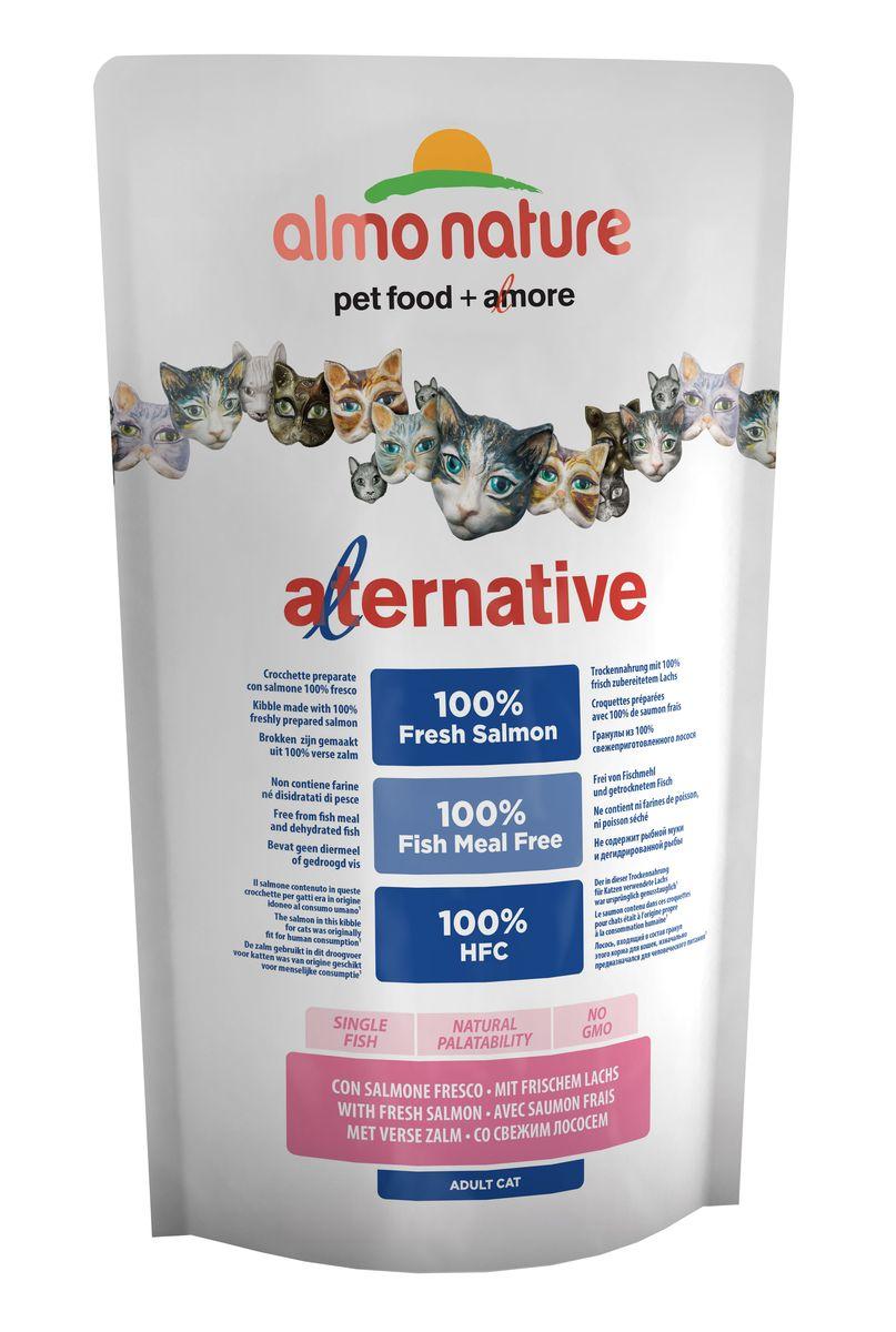 Корм сухой для кошек Almo Nature Alternative, с лососем и рисом, 750 г. 2063220632Состав: свежий лосось* 55%, рис, куриный жир**, кукурузный глютен, гидролизованный животный белок, дрожжи, картофель, яйца, минералы, мананоолигосахариды 0,2%, инулин из цикория- источник ФОС- 0,2%.