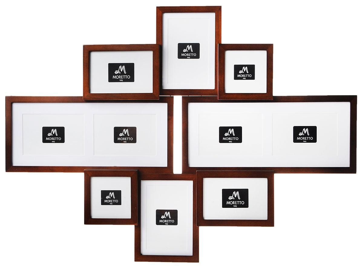 Фоторамка Moretto, на 8 фото. 238013238013Фоторамка Moretto отлично дополнит интерьер помещения и поможет сохранить на память ваши любимые фотографии. Фоторамка выполнена из дерева и представляет собой коллаж из 8 рамочек с вертикальным и горизонтальным расположением фотографий. Изделие подвешивается к стене. Такая рамка позволит сохранить на память изображения дорогих вам людей и интересных событий вашей жизни, а также станет приятным подарком для каждого. Размер рамок: - 2 фоторамки 12 х 12 см для фото 10 х 10 см, - 2 фоторамки 17 х 12 см для фото 10 х 15 см, - 2 фоторамки 15 х 19,5 см для фото 12 х 17 см, - 2 фоторамки 39 х 17 см для двух фото 10 х 15 см. Общий размер фоторамки: 79,5 х 57 см.