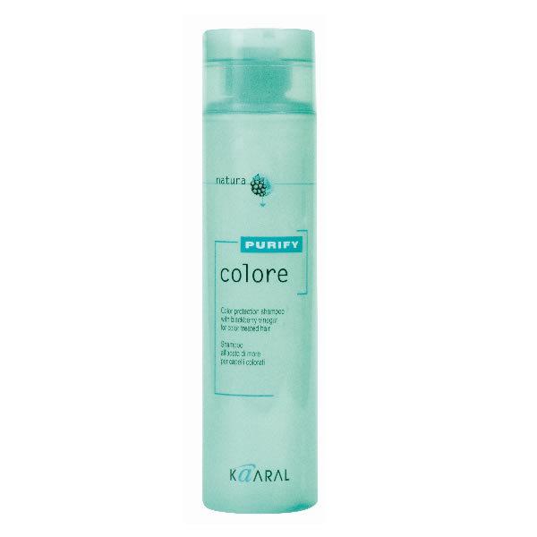Kaaral Шампунь для окрашенных волос Purify Colore Shampoo, 250 мл3078Высокоэффективный слабокислый PH шампунь для окрашенных волос. Бережно закрывает кутикулу, надолго сохраняя цветовые пигменты внутри волос, нейтрализует остатки щелочи и перекиси, что позволяет сохранить яркость цвета и блеск окрашенных волос. Эксклюзивный комплекс питательных веществ на основе плодов и листьев ежевики оказывает интенсивное ухаживающее воздействие улучшая структуру волос.
