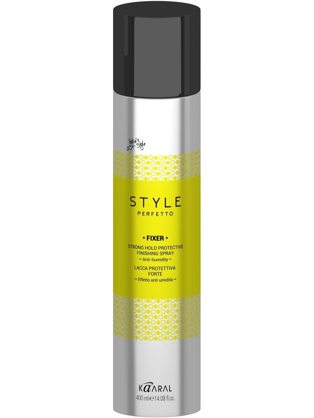 Kaaral Защитный лак для волос сильной фиксации Style Perfetto Fixer Strong Hold Protective Finishing Spray, 400 млMP59.4DЗащитный лак с фиксацией средне-сильной степени создает форму, не утяжеляя волосы, оказывает защитное действие благодаря пантенолу. Лак сохраняет укладку длительное время, устойчив к влаге. Не пересушивает волосы, придает им блеск.