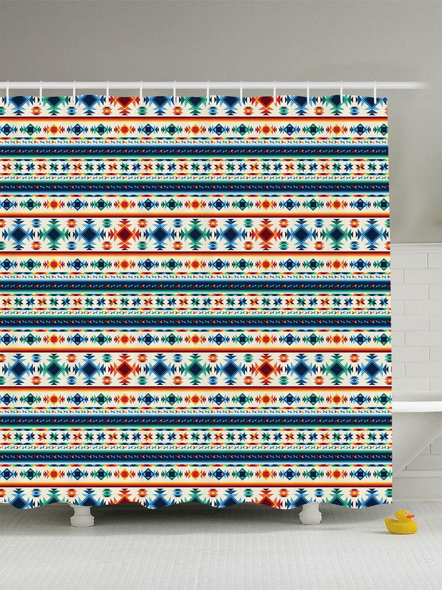 Штора для ванной комнаты Magic Lady Индейский орнамент, 180 х 200 см106-026Штора Magic Lady Индейский орнамент, изготовленная из высококачественного сатена (полиэстер 100%), отлично дополнит любой интерьер ванной комнаты. При изготовлении используются специальные гипоаллергенные чернила для прямой печати по ткани, безопасные для человека.В комплекте: 1 штора, 12 крючков. Обращаем ваше внимание, фактический цвет изделия может незначительно отличаться от представленного на фото.