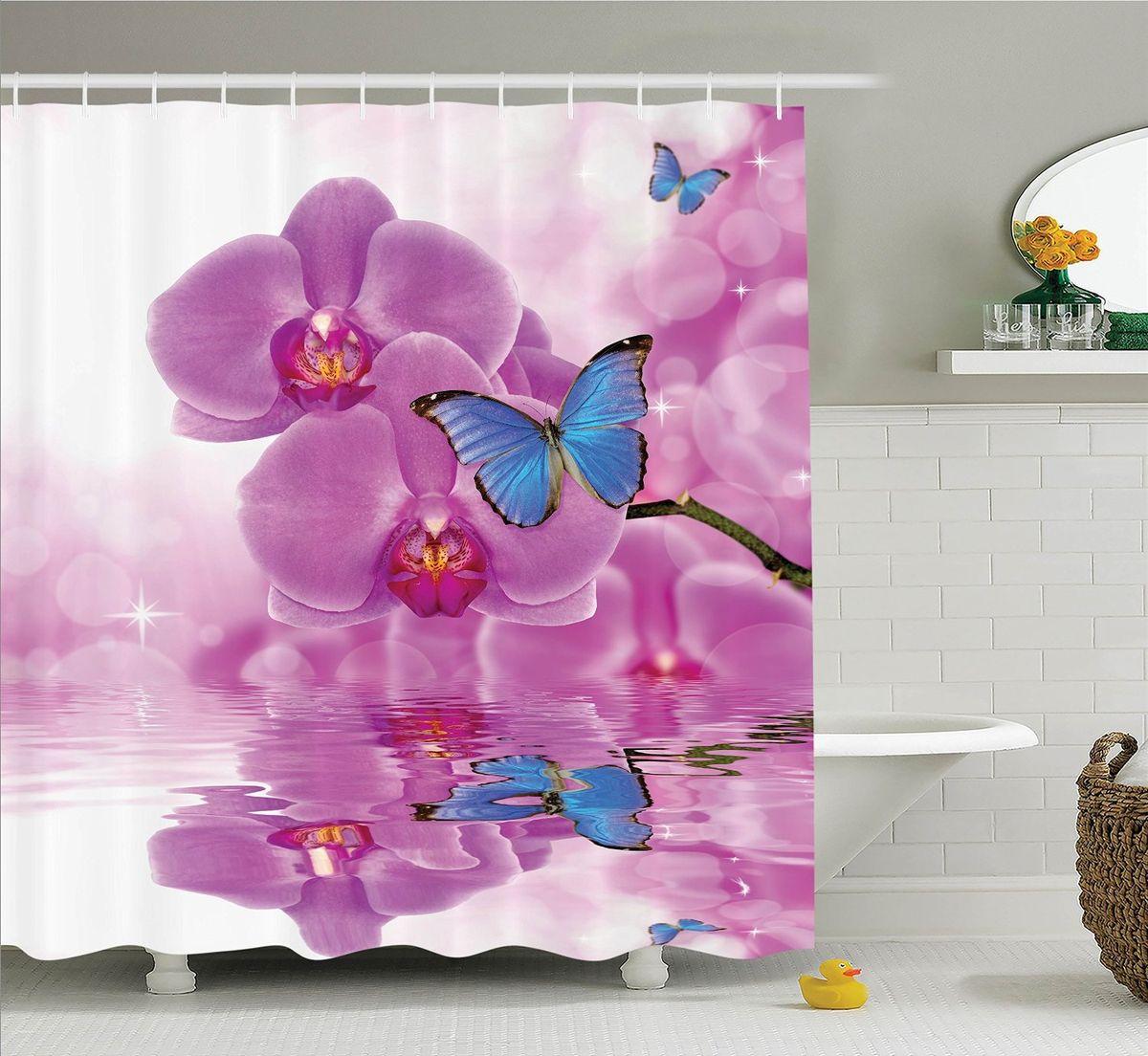 Штора для ванной комнаты Magic Lady Бабочки на цветах орхидеи, 180 х 200 смшв_11023Компания Сэмболь изготавливает шторы из высококачественного сатена (полиэстер 100%). При изготовлении используются специальные гипоаллергенные чернила для прямой печати по ткани, безопасные для человека и животных. Экологичность продукции Magic lady и безопасность для окружающей среды подтверждены сертификатом Oeko-Tex Standard 100. Крепление: крючки (12 шт.). Внимание! При нанесении сублимационной печати на ткань технологическим методом при температуре 240 С, возможно отклонение полученных размеров, указанных на этикетке и сайте, от стандартных на + - 3-5 см. Мы стараемся максимально точно передать цвета изделия на наших фотографиях, однако искажения неизбежны и фактический цвет изделия может отличаться от воспринимаемого по фото. Обратите внимание! Шторы изготовлены из полиэстра сатенового переплетения, а не из сатина (хлопок). Размер шторы 180*200 см. В комплекте 1 штора и 12 крючков.