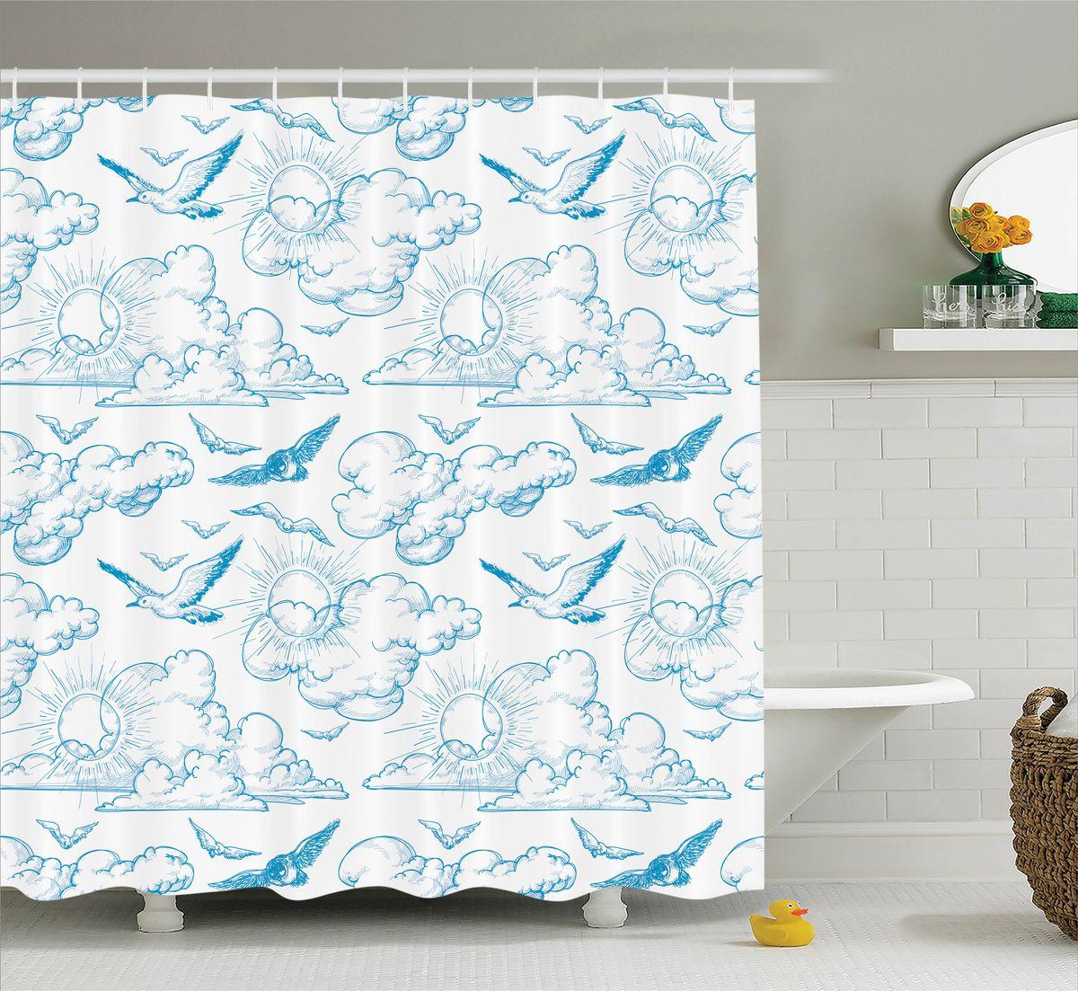 Штора для ванной комнаты Magic Lady Птицы в небе, 180 х 200 смшв_11368Штора Magic Lady Птицы в небе, изготовленная из высококачественного сатена (полиэстер 100%), отлично дополнит любой интерьер ванной комнаты. При изготовлении используются специальные гипоаллергенные чернила для прямой печати по ткани, безопасные для человека. В комплекте: 1 штора, 12 крючков. Обращаем ваше внимание, фактический цвет изделия может незначительно отличаться от представленного на фото.