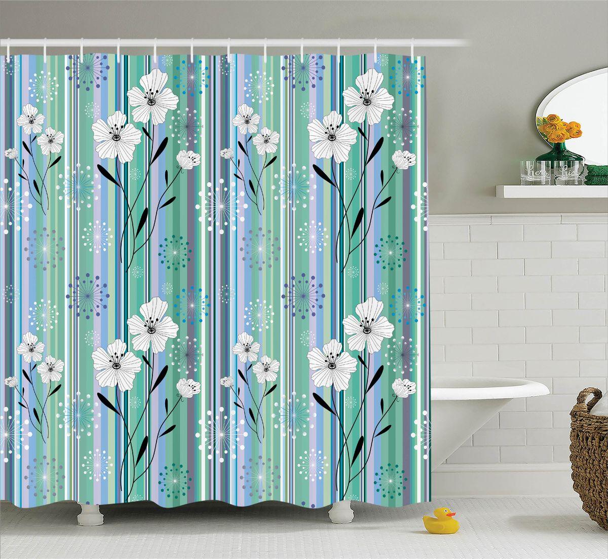 Штора для ванной комнаты Magic Lady Цветы и полоски, 180 х 200 смшв_11388Штора Magic Lady Цветы и полоски, изготовленная из высококачественного сатена (полиэстер 100%), отлично дополнит любой интерьер ванной комнаты. При изготовлении используются специальные гипоаллергенные чернила для прямой печати по ткани, безопасные для человека. В комплекте: 1 штора, 12 крючков. Обращаем ваше внимание, фактический цвет изделия может незначительно отличаться от представленного на фото.
