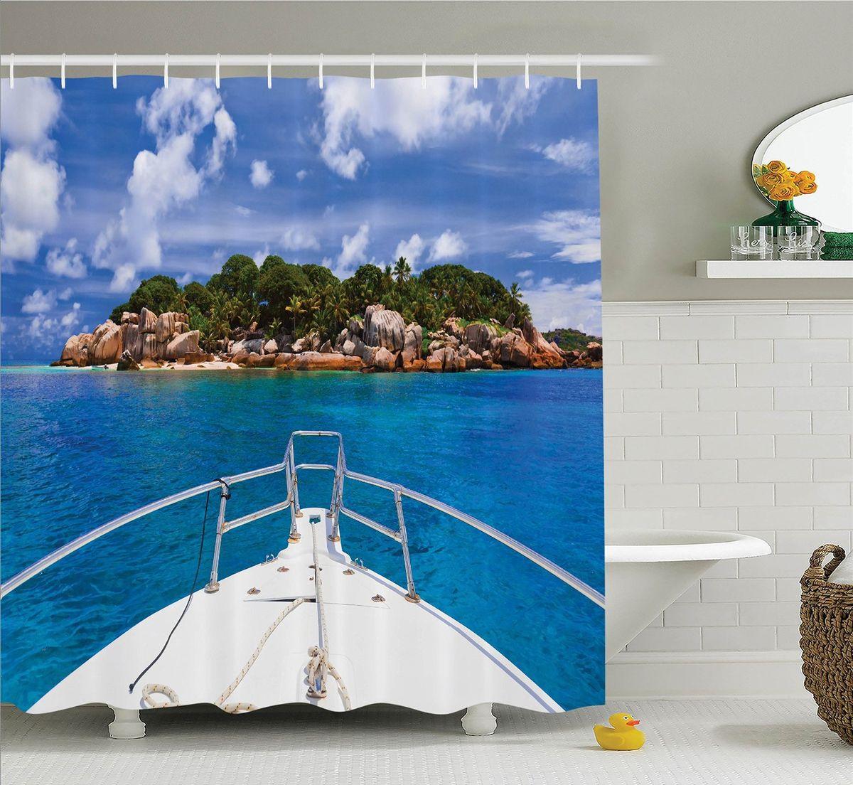 Штора для ванной комнаты Magic Lady На палубе, 180 х 200 см96515412Штора Magic Lady На палубе, изготовленная из высококачественного сатена (полиэстер 100%), отлично дополнит любой интерьер ванной комнаты. При изготовлении используются специальные гипоаллергенные чернила для прямой печати по ткани, безопасные для человека.В комплекте: 1 штора, 12 крючков. Обращаем ваше внимание, фактический цвет изделия может незначительно отличаться от представленного на фото.