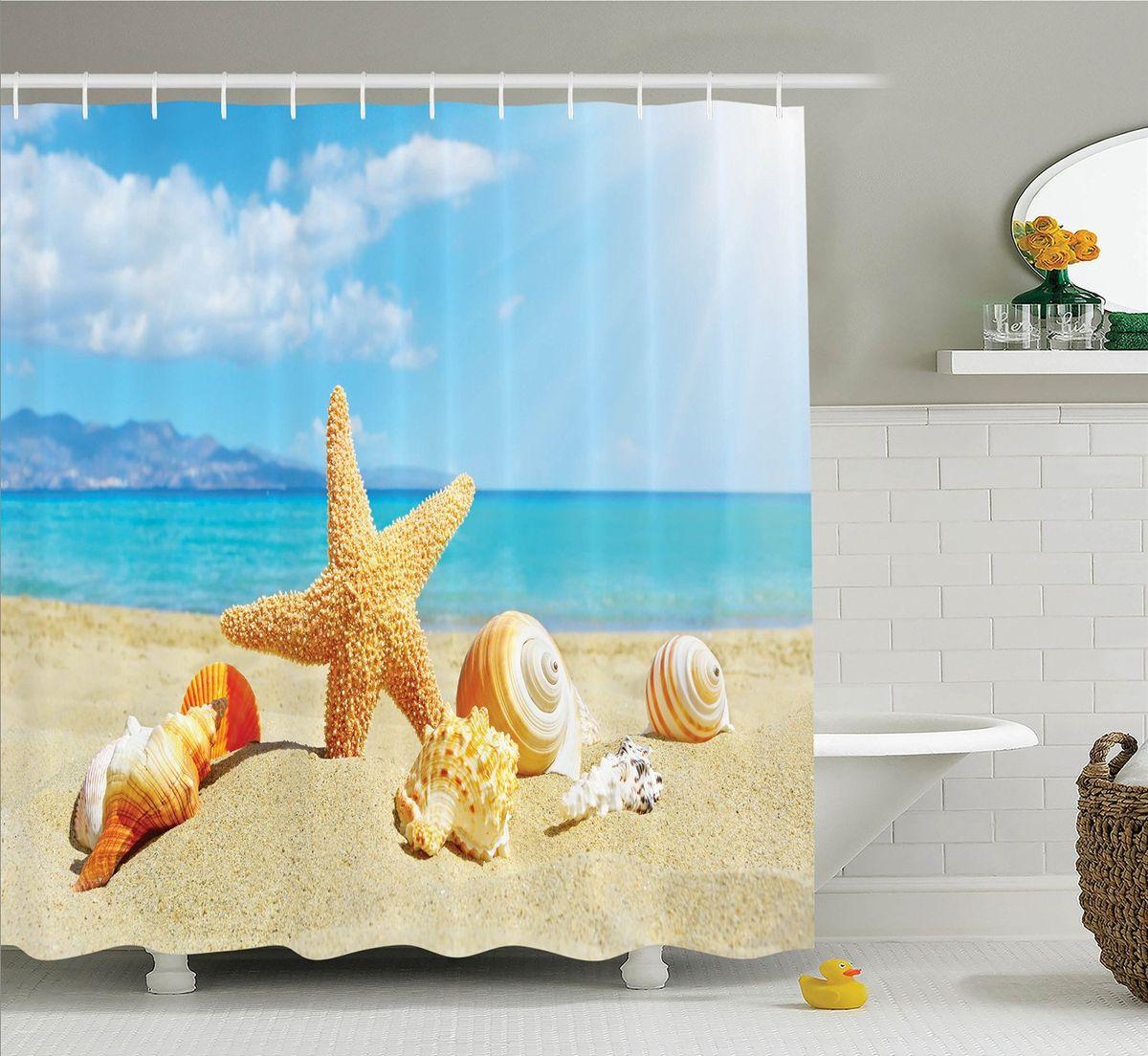 Штора для ванной комнаты Magic Lady Ракушки на пляже, 180 х 200 смUP210DFКомпания Сэмболь изготавливает шторы из высококачественного сатена (полиэстер 100%). При изготовлении используются специальные гипоаллергенные чернила для прямой печати по ткани, безопасные для человека и животных. Экологичность продукции Magic lady и безопасность для окружающей среды подтверждены сертификатом Oeko-Tex Standard 100. Крепление: крючки (12 шт.). Внимание! При нанесении сублимационной печати на ткань технологическим методом при температуре 240 С, возможно отклонение полученных размеров, указанных на этикетке и сайте, от стандартных на + - 3-5 см. Мы стараемся максимально точно передать цвета изделия на наших фотографиях, однако искажения неизбежны и фактический цвет изделия может отличаться от воспринимаемого по фото. Обратите внимание! Шторы изготовлены из полиэстра сатенового переплетения, а не из сатина (хлопок). Размер шторы 180*200 см. В комплекте 1 штора и 12 крючков.