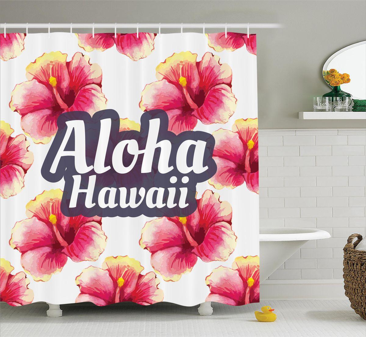 Штора для ванной комнаты Magic Lady Гавайский гибискус, 180 х 200 смшв_12273Штора Magic Lady Гавайский гибискус, изготовленная из высококачественного сатена (полиэстер 100%), отлично дополнит любой интерьер ванной комнаты. При изготовлении используются специальные гипоаллергенные чернила для прямой печати по ткани, безопасные для человека. В комплекте: 1 штора, 12 крючков. Обращаем ваше внимание, фактический цвет изделия может незначительно отличаться от представленного на фото.