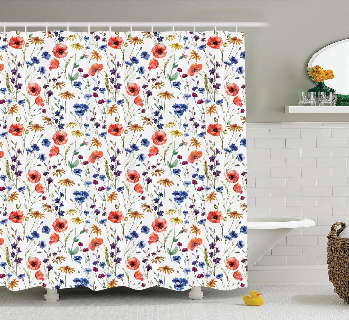 Штора для ванной комнаты Magic Lady Полевые цветы, 180 х 200 см19201Штора Magic Lady Полевые цветы, изготовленная из высококачественного сатена (полиэстер 100%), отлично дополнит любой интерьер ванной комнаты. При изготовлении используются специальные гипоаллергенные чернила для прямой печати по ткани, безопасные для человека.В комплекте: 1 штора, 12 крючков. Обращаем ваше внимание, фактический цвет изделия может незначительно отличаться от представленного на фото.