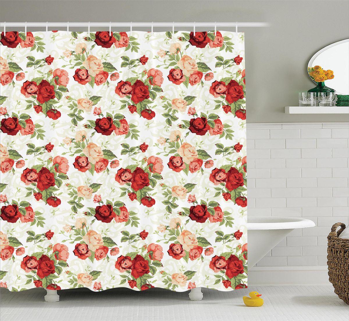 Штора для ванной комнаты Magic Lady Розы в стиле ретро, 180 х 200 смшв_12331Штора Magic Lady Розы в стиле ретро, изготовленная из высококачественного сатена (полиэстер 100%), отлично дополнит любой интерьер ванной комнаты. При изготовлении используются специальные гипоаллергенные чернила для прямой печати по ткани, безопасные для человека. В комплекте: 1 штора, 12 крючков. Обращаем ваше внимание, фактический цвет изделия может незначительно отличаться от представленного на фото.