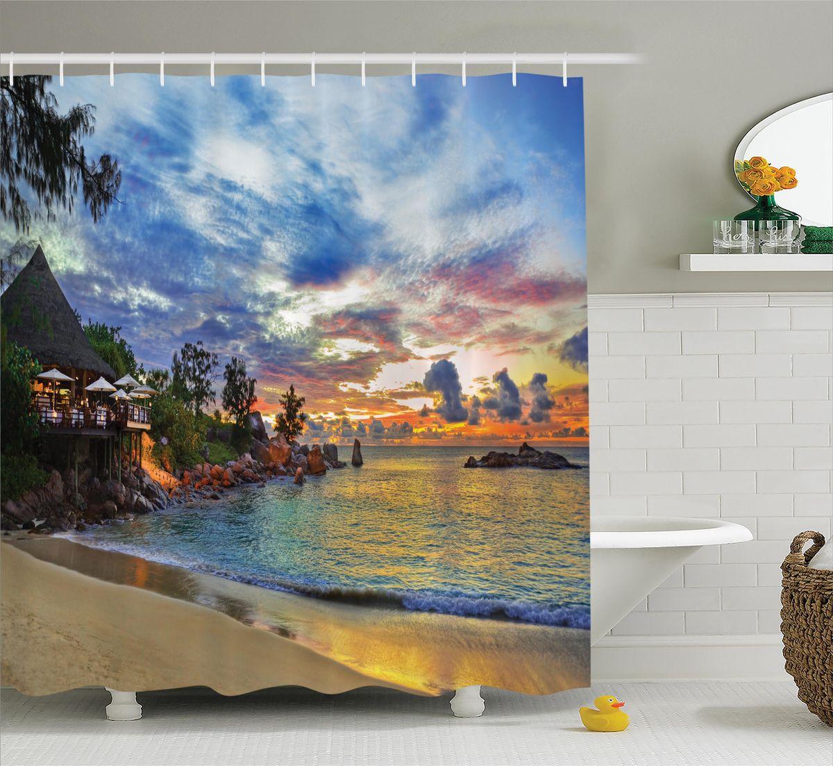 Штора для ванной комнаты Magic Lady Вечер в райском уголке, 180 х 200 смшв_12485Штора Magic Lady Вечер в райском уголке, изготовленная из высококачественного сатена (полиэстер 100%), отлично дополнит любой интерьер ванной комнаты. При изготовлении используются специальные гипоаллергенные чернила для прямой печати по ткани, безопасные для человека. В комплекте: 1 штора, 12 крючков. Обращаем ваше внимание, фактический цвет изделия может незначительно отличаться от представленного на фото.