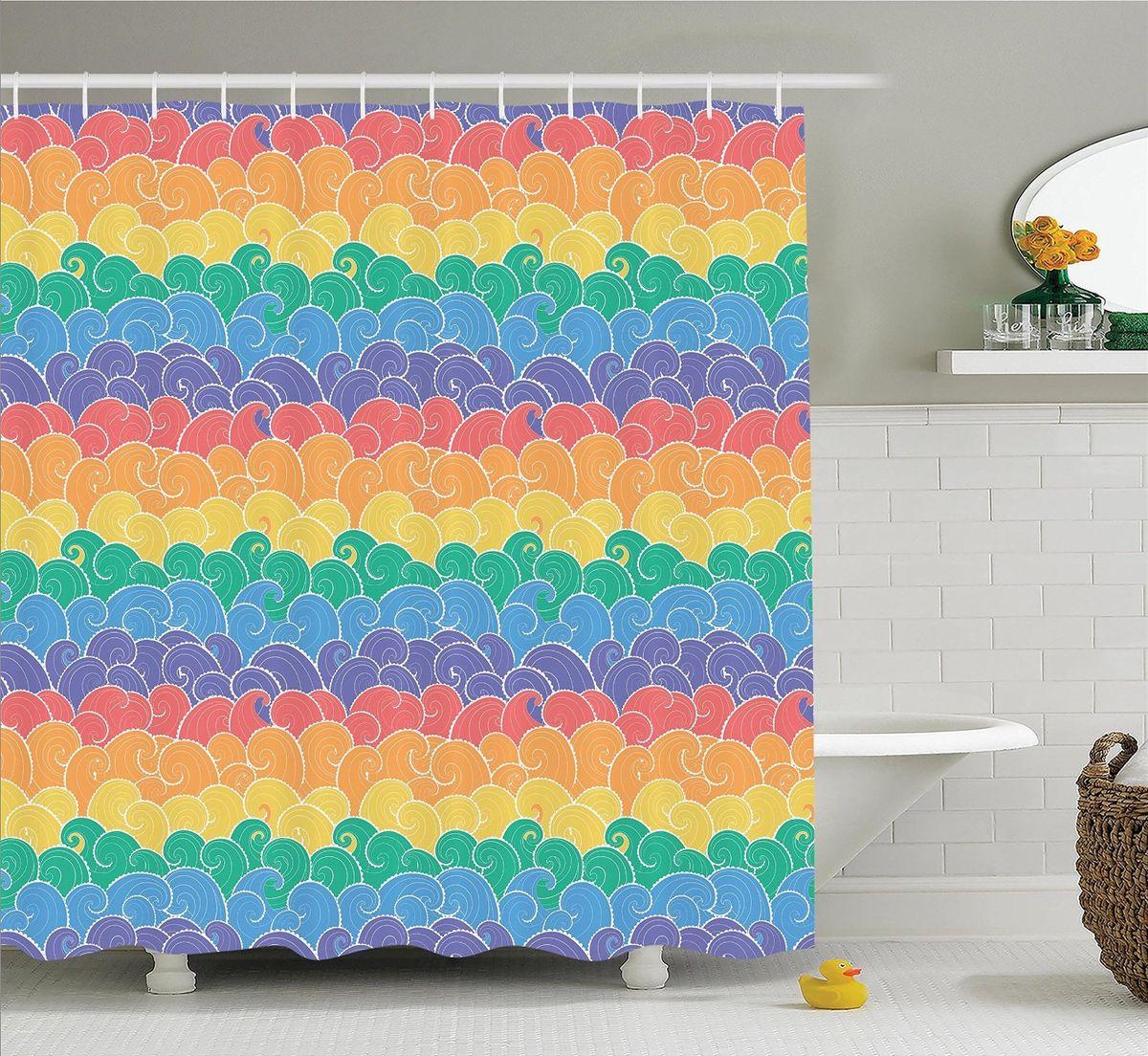 Штора для ванной комнаты Magic Lady Цветные волны, 180 х 200 смшв_12536Штора Magic Lady Цветные волны, изготовленная из высококачественного сатена (полиэстер 100%), отлично дополнит любой интерьер ванной комнаты. При изготовлении используются специальные гипоаллергенные чернила для прямой печати по ткани, безопасные для человека. В комплекте: 1 штора, 12 крючков. Обращаем ваше внимание, фактический цвет изделия может незначительно отличаться от представленного на фото.