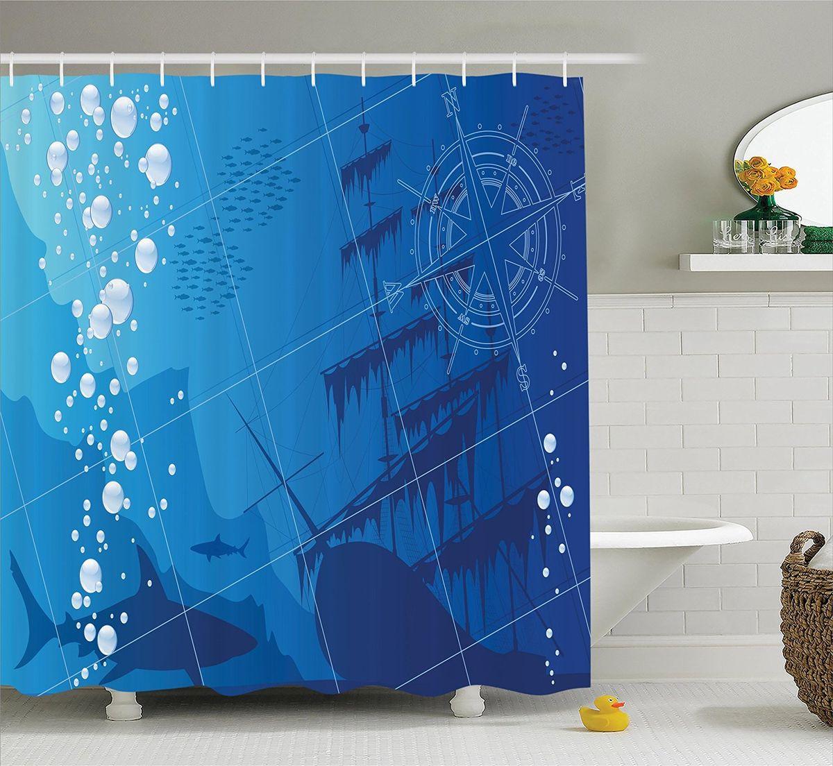 Штора для ванной комнаты Magic Lady Акулы у затонувшего корабля, 180 х 200 смшв_12548Штора Magic Lady Акулы у затонувшего корабля, изготовленная из высококачественного сатена (полиэстер 100%), отлично дополнит любой интерьер ванной комнаты. При изготовлении используются специальные гипоаллергенные чернила для прямой печати по ткани, безопасные для человека. В комплекте: 1 штора, 12 крючков. Обращаем ваше внимание, фактический цвет изделия может незначительно отличаться от представленного на фото.