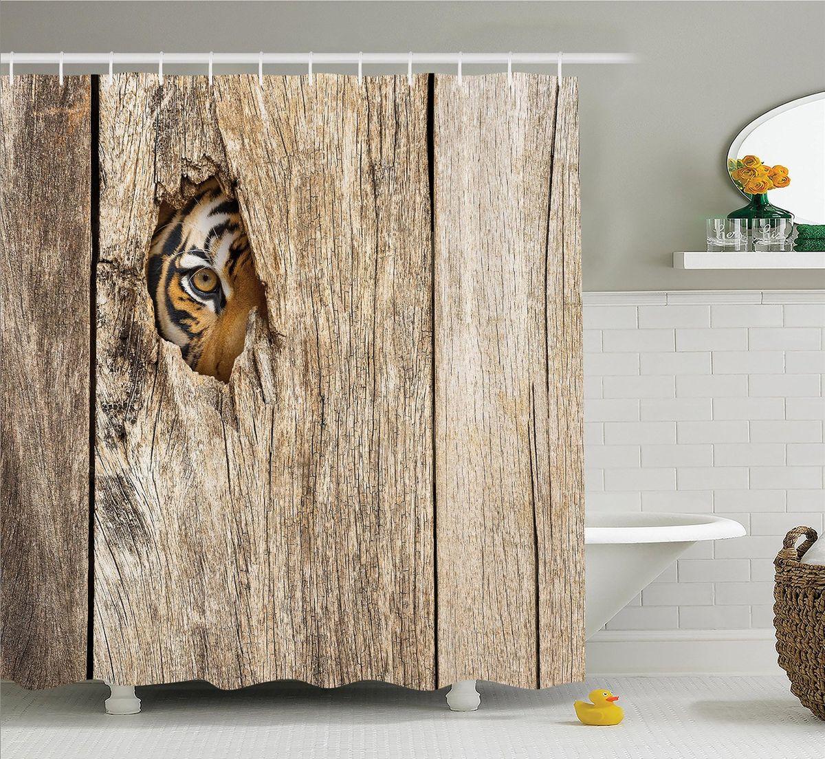 Штора для ванной комнаты Magic Lady Любопытный тигр, 180 х 200 см96515412Компания Сэмболь изготавливает шторы из высококачественного сатена (полиэстер 100%). При изготовлении используются специальные гипоаллергенные чернила для прямой печати по ткани, безопасные для человека и животных. Экологичность продукции Magic lady и безопасность для окружающей среды подтверждены сертификатом Oeko-Tex Standard 100. Крепление: крючки (12 шт.). Внимание! При нанесении сублимационной печати на ткань технологическим методом при температуре 240 С, возможно отклонение полученных размеров, указанных на этикетке и сайте, от стандартных на + - 3-5 см. Мы стараемся максимально точно передать цвета изделия на наших фотографиях, однако искажения неизбежны и фактический цвет изделия может отличаться от воспринимаемого по фото. Обратите внимание! Шторы изготовлены из полиэстра сатенового переплетения, а не из сатина (хлопок). Размер шторы 180*200 см. В комплекте 1 штора и 12 крючков.