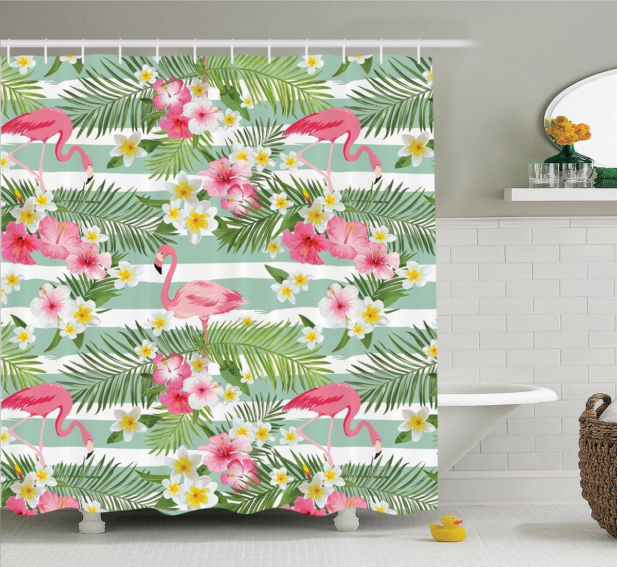 Штора для ванной комнаты Magic Lady Фламинго среди листьев и цветов, 180 х 200 смшв_14665Штора Magic Lady Фламинго среди листьев и цветов, изготовленная из высококачественного сатена (полиэстер 100%), отлично дополнит любой интерьер ванной комнаты. При изготовлении используются специальные гипоаллергенные чернила для прямой печати по ткани, безопасные для человека. В комплекте: 1 штора, 12 крючков. Обращаем ваше внимание, фактический цвет изделия может незначительно отличаться от представленного на фото.
