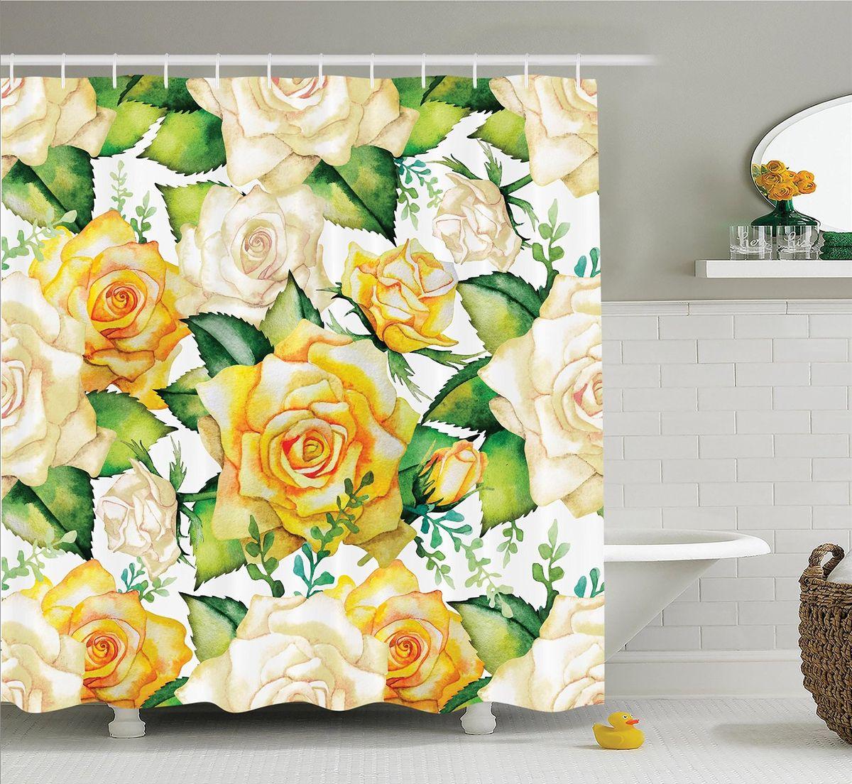 Штора для ванной комнаты Magic Lady Чайные розы, 180 х 200 смшв_14778Штора Magic Lady Чайные розы, изготовленная из высококачественного сатена (полиэстер 100%), отлично дополнит любой интерьер ванной комнаты. При изготовлении используются специальные гипоаллергенные чернила для прямой печати по ткани, безопасные для человека. В комплекте: 1 штора, 12 крючков. Обращаем ваше внимание, фактический цвет изделия может незначительно отличаться от представленного на фото.