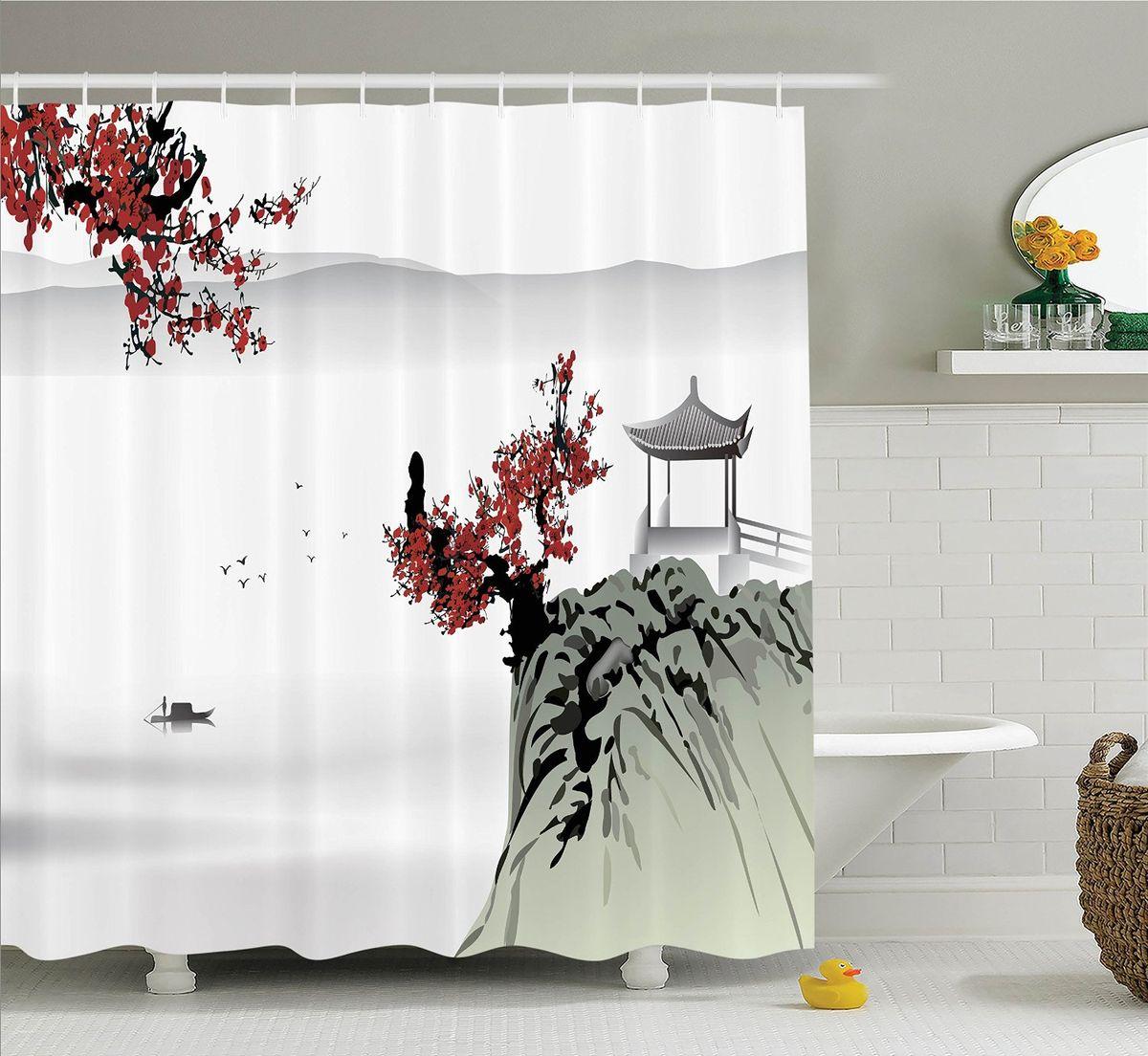 Штора для ванной комнаты Magic Lady Сакура и беседка на горе, 180 х 200 см391602Штора Magic Lady Сакура и беседка на горе, изготовленная из высококачественного сатена (полиэстер 100%), отлично дополнит любой интерьер ванной комнаты. При изготовлении используются специальные гипоаллергенные чернила для прямой печати по ткани, безопасные для человека.В комплекте: 1 штора, 12 крючков. Обращаем ваше внимание, фактический цвет изделия может незначительно отличаться от представленного на фото.