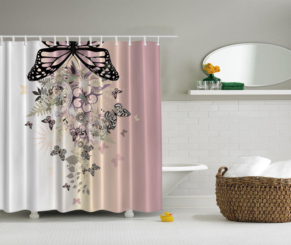 Штора для ванной комнаты Magic Lady Стая бабочек, 180 х 200 смшв_2665Компания Сэмболь изготавливает шторы из высококачественного сатена (полиэстер 100%). При изготовлении используются специальные гипоаллергенные чернила для прямой печати по ткани, безопасные для человека и животных. Экологичность продукции Magic lady и безопасность для окружающей среды подтверждены сертификатом Oeko-Tex Standard 100. Крепление: крючки (12 шт.). Внимание! При нанесении сублимационной печати на ткань технологическим методом при температуре 240 С, возможно отклонение полученных размеров, указанных на этикетке и сайте, от стандартных на + - 3-5 см. Мы стараемся максимально точно передать цвета изделия на наших фотографиях, однако искажения неизбежны и фактический цвет изделия может отличаться от воспринимаемого по фото. Обратите внимание! Шторы изготовлены из полиэстра сатенового переплетения, а не из сатина (хлопок). Размер шторы 180*200 см. В комплекте 1 штора и 12 крючков.