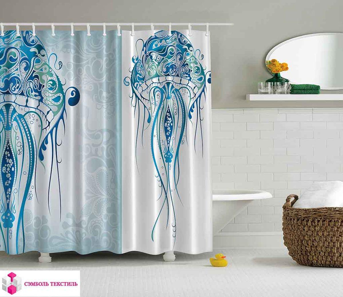 Штора для ванной комнаты Magic Lady Огромная медуза с узорами, 180 х 200 см96515412Штора Magic Lady Огромная медуза с узорами, изготовленная из высококачественного сатена (полиэстер 100%), отлично дополнит любой интерьер ванной комнаты. При изготовлении используются специальные гипоаллергенные чернила для прямой печати по ткани, безопасные для человека.В комплекте: 1 штора, 12 крючков. Обращаем ваше внимание, фактический цвет изделия может незначительно отличаться от представленного на фото.