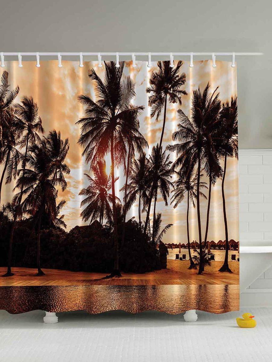 Штора для ванной комнаты Magic Lady Пальмы на закате, 180 х 200 смшв_3016Штора Magic Lady Пальмы на закате, изготовленная из высококачественного сатена (полиэстер 100%), отлично дополнит любой интерьер ванной комнаты. При изготовлении используются специальные гипоаллергенные чернила для прямой печати по ткани, безопасные для человека. В комплекте: 1 штора, 12 крючков. Обращаем ваше внимание, фактический цвет изделия может незначительно отличаться от представленного на фото.