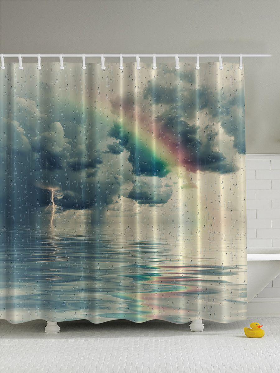 Штора для ванной комнаты Magic Lady Радуга в дождливом небе, 180 х 200 смшв_4537Штора Magic Lady Радуга в дождливом небе, изготовленная из высококачественного сатена (полиэстер 100%), отлично дополнит любой интерьер ванной комнаты. При изготовлении используются специальные гипоаллергенные чернила для прямой печати по ткани, безопасные для человека. В комплекте: 1 штора, 12 крючков. Обращаем ваше внимание, фактический цвет изделия может незначительно отличаться от представленного на фото.