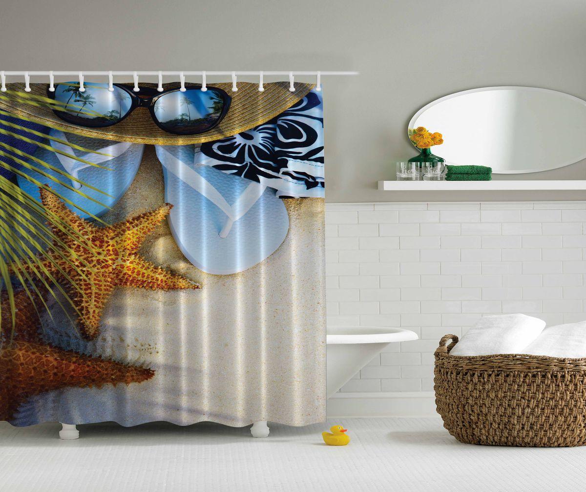 Штора для ванной комнаты Magic Lady Пляжный отдых, 180 х 200 см96515412Штора Magic Lady Пляжный отдых, изготовленная из высококачественного сатена (полиэстер 100%), отлично дополнит любой интерьер ванной комнаты. При изготовлении используются специальные гипоаллергенные чернила для прямой печати по ткани, безопасные для человека.В комплекте: 1 штора, 12 крючков. Обращаем ваше внимание, фактический цвет изделия может незначительно отличаться от представленного на фото.