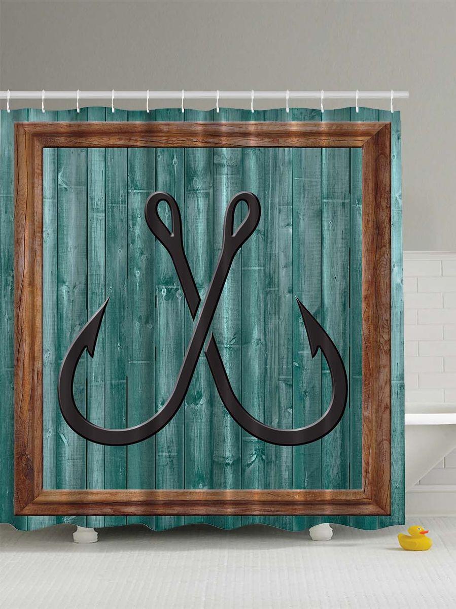 Штора для ванной комнаты Magic Lady Рыболовные крючки, 180 х 200 смшв_5300Штора Magic Lady Рыболовные крючки, изготовленная из высококачественного сатена (полиэстер 100%), отлично дополнит любой интерьер ванной комнаты. При изготовлении используются специальные гипоаллергенные чернила для прямой печати по ткани, безопасные для человека. В комплекте: 1 штора, 12 крючков. Обращаем ваше внимание, фактический цвет изделия может незначительно отличаться от представленного на фото.
