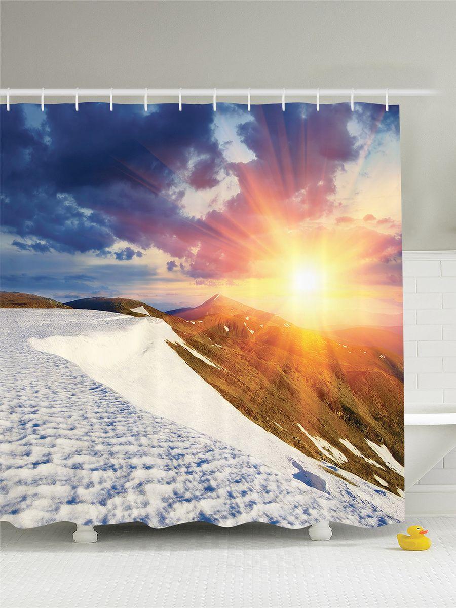Штора для ванной комнаты Magic Lady Солнце над горами, 180 х 200 смшв_7530Штора Magic Lady Солнце над горами, изготовленная из высококачественного сатена (полиэстер 100%), отлично дополнит любой интерьер ванной комнаты. При изготовлении используются специальные гипоаллергенные чернила для прямой печати по ткани, безопасные для человека. В комплекте: 1 штора, 12 крючков. Обращаем ваше внимание, фактический цвет изделия может незначительно отличаться от представленного на фото.