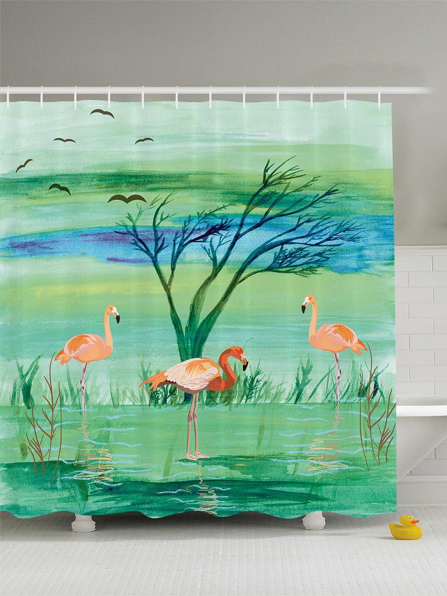 Штора для ванной комнаты Magic Lady Фламинго в зеленой воде, 180 х 200 смшв_7807Штора Magic Lady Фламинго в зеленой воде, изготовленная из высококачественного сатена (полиэстер 100%), отлично дополнит любой интерьер ванной комнаты. При изготовлении используются специальные гипоаллергенные чернила для прямой печати по ткани, безопасные для человека. В комплекте: 1 штора, 12 крючков. Обращаем ваше внимание, фактический цвет изделия может незначительно отличаться от представленного на фото.