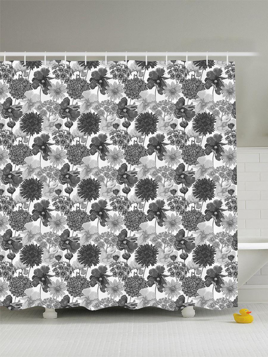 Штора для ванной комнаты Magic Lady Серые цветы, 180 х 200 смшв_8080Штора Magic Lady Серые цветы, изготовленная из высококачественного сатена (полиэстер 100%), отлично дополнит любой интерьер ванной комнаты. При изготовлении используются специальные гипоаллергенные чернила для прямой печати по ткани, безопасные для человека. В комплекте: 1 штора, 12 крючков. Обращаем ваше внимание, фактический цвет изделия может незначительно отличаться от представленного на фото.