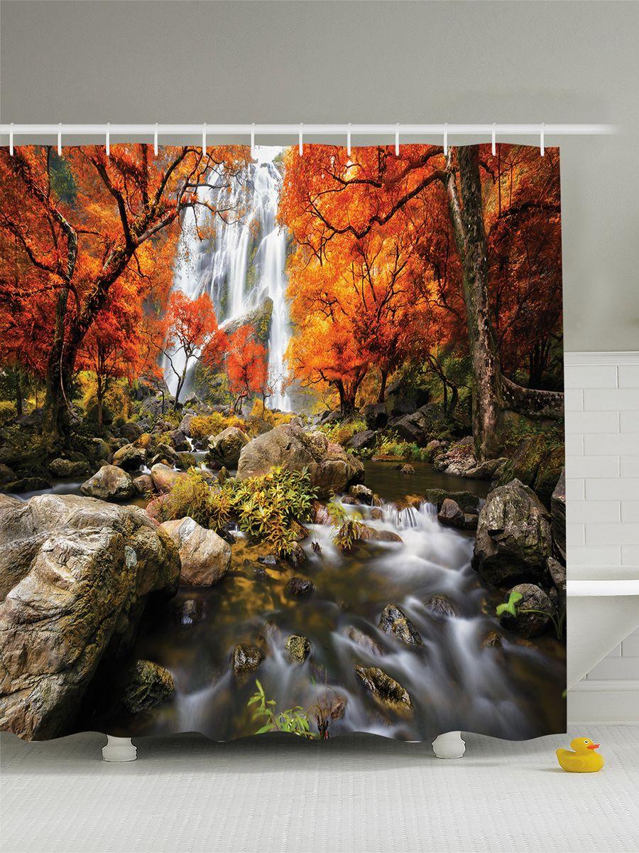 Штора для ванной комнаты Magic Lady Оранжевые деревья над водопадом, 180 х 200 смшв_8088Штора Magic Lady Оранжевые деревья над водопадом, изготовленная из высококачественного сатена (полиэстер 100%), отлично дополнит любой интерьер ванной комнаты. При изготовлении используются специальные гипоаллергенные чернила для прямой печати по ткани, безопасные для человека. В комплекте: 1 штора, 12 крючков. Обращаем ваше внимание, фактический цвет изделия может незначительно отличаться от представленного на фото.