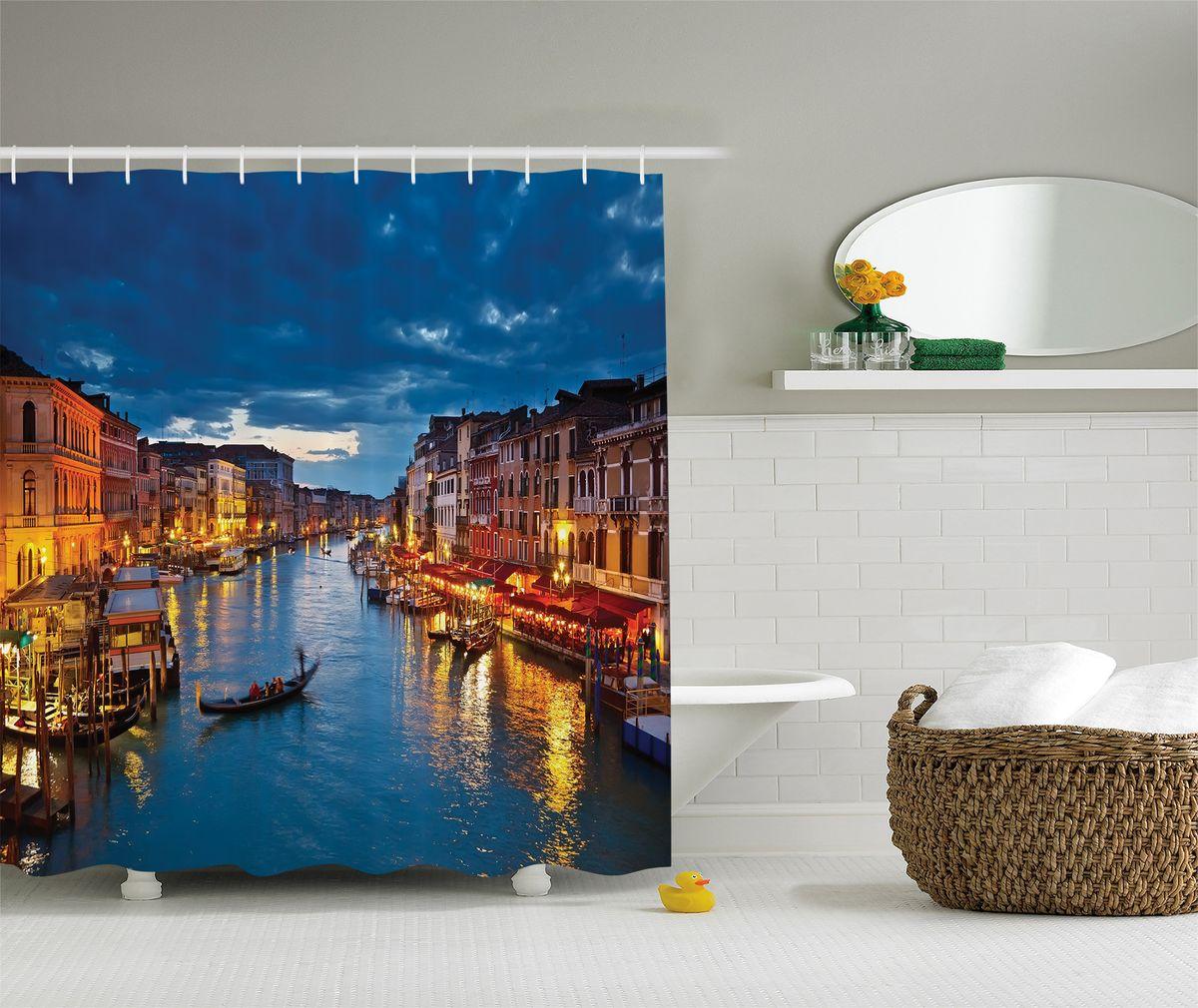 Штора для ванной комнаты Magic Lady Вечерняя Венеция, 180 х 200 см391602Штора Magic Lady Вечерняя Венеция, изготовленная из высококачественного сатена (полиэстер 100%), отлично дополнит любой интерьер ванной комнаты. При изготовлении используются специальные гипоаллергенные чернила для прямой печати по ткани, безопасные для человека.В комплекте: 1 штора, 12 крючков. Обращаем ваше внимание, фактический цвет изделия может незначительно отличаться от представленного на фото.