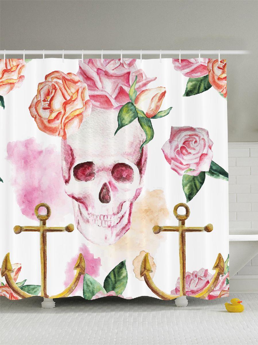 Штора для ванной комнаты Magic Lady Череп, розы, якоря, 180 х 200 смшв_9004Штора Magic Lady Череп, розы, якоря, изготовленная из высококачественного сатена (полиэстер 100%), отлично дополнит любой интерьер ванной комнаты. При изготовлении используются специальные гипоаллергенные чернила для прямой печати по ткани, безопасные для человека. В комплекте: 1 штора, 12 крючков. Обращаем ваше внимание, фактический цвет изделия может незначительно отличаться от представленного на фото.